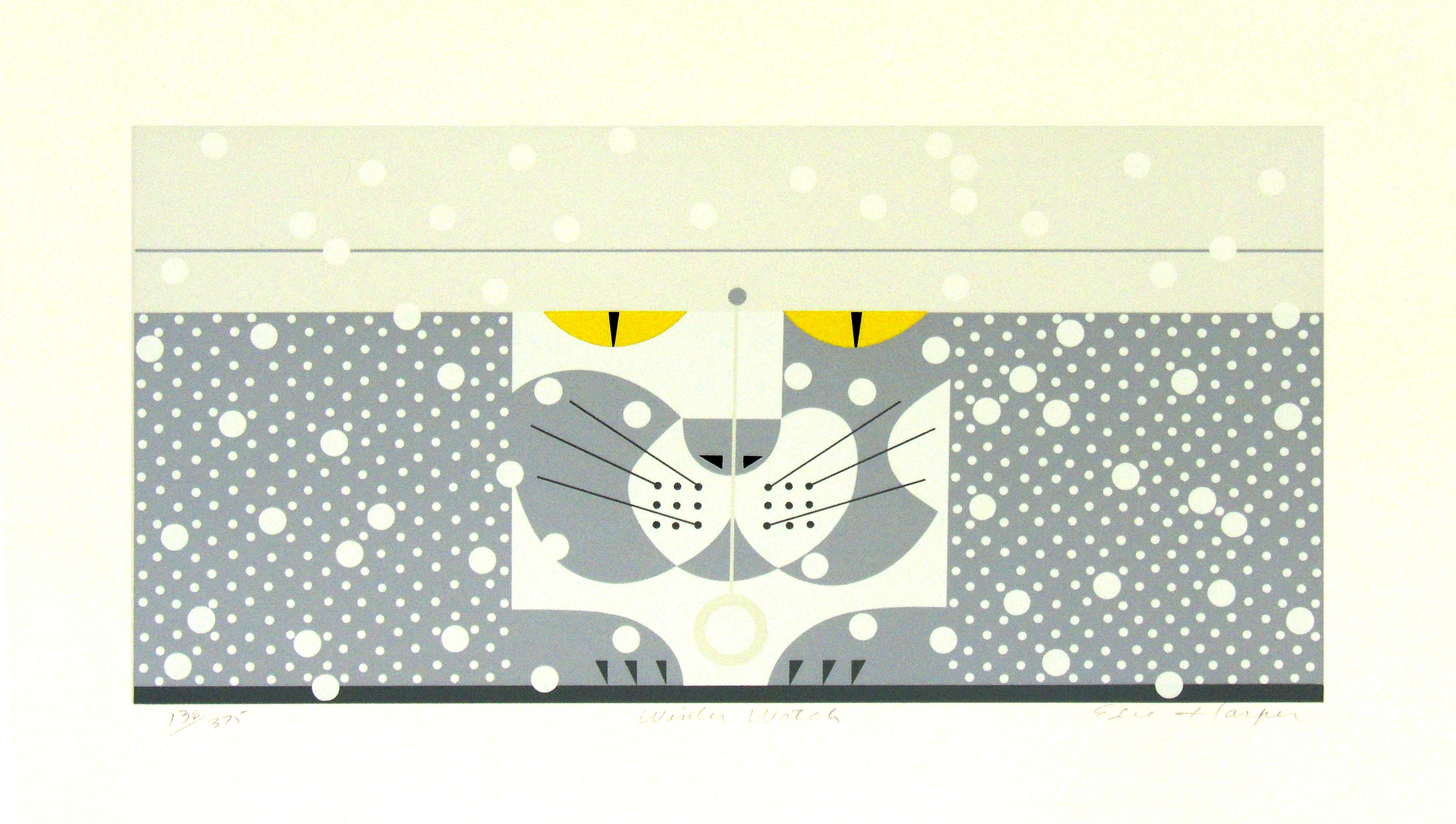 Edie Harper | WINTER WATCH | serigraph on paper | 12 x 20