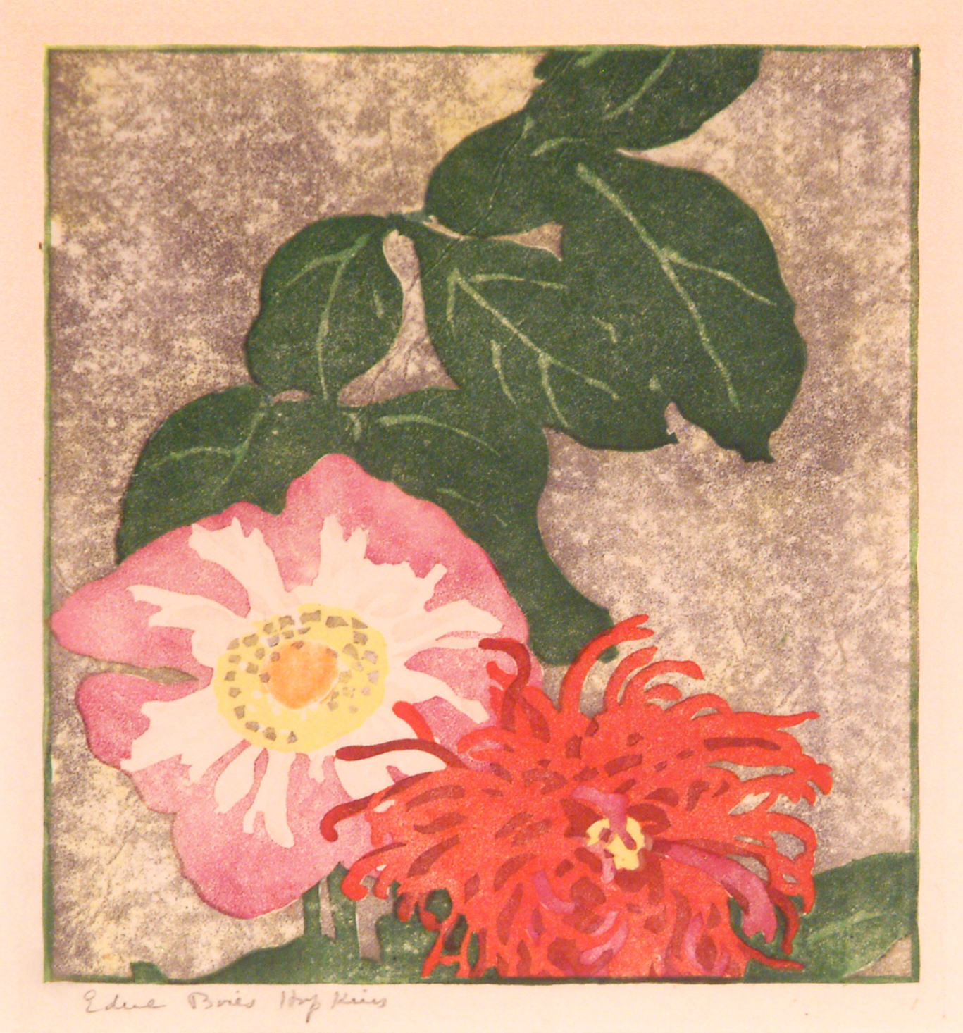 Edna Boies Hopkins | BLOSSOMS (also known as TWO DAHLIAS) | color woodblock | 8-1/2 x 7-1/4'' | 1915 | Private collection, Courtesy of Keny Galleries