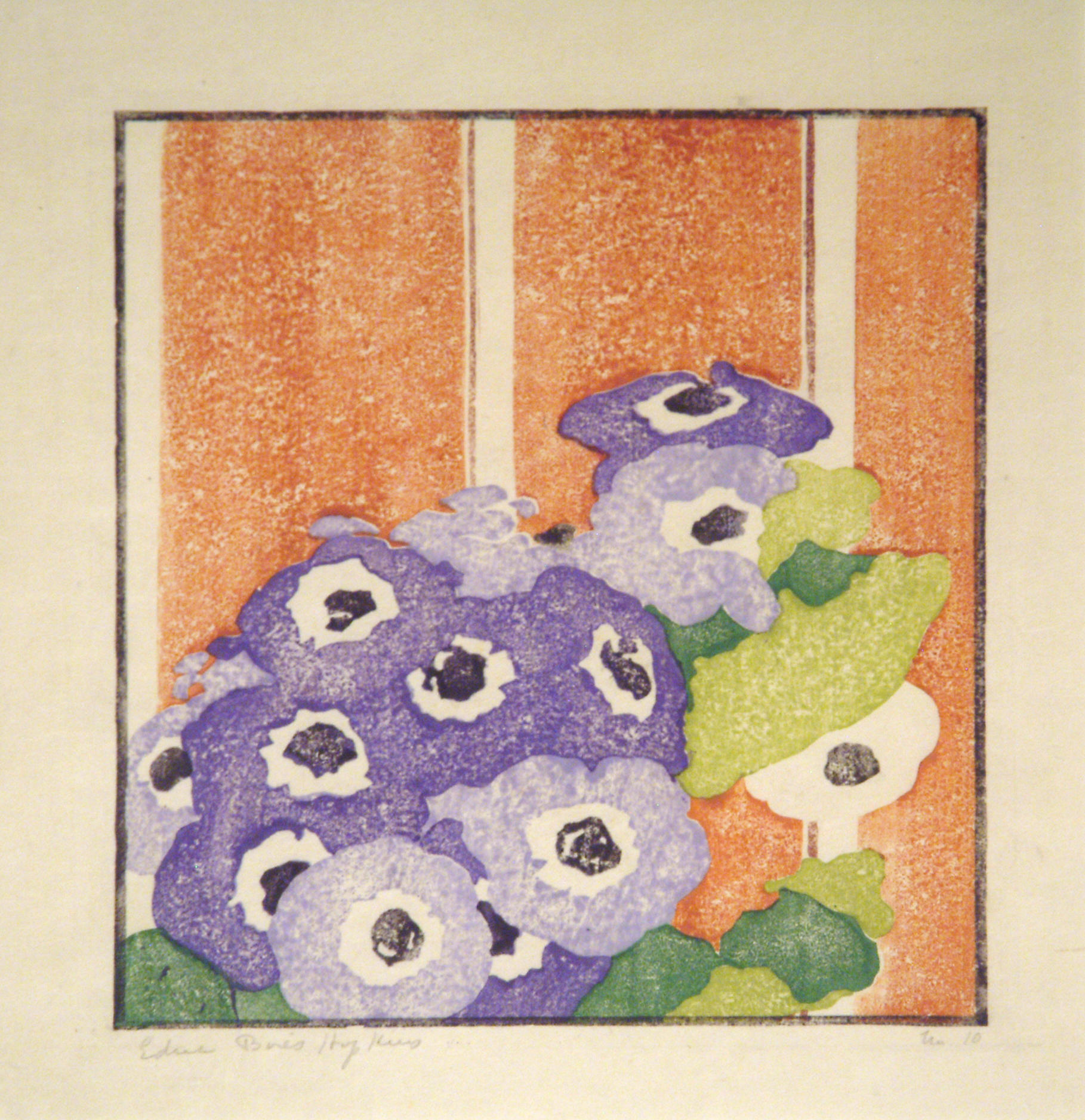 Edna Boies Hopkins | CINERARIA | color woodblock | 9-3/4 x 8-1/2'' | 1915 | Permanent collection of the Springfield Museum of Art