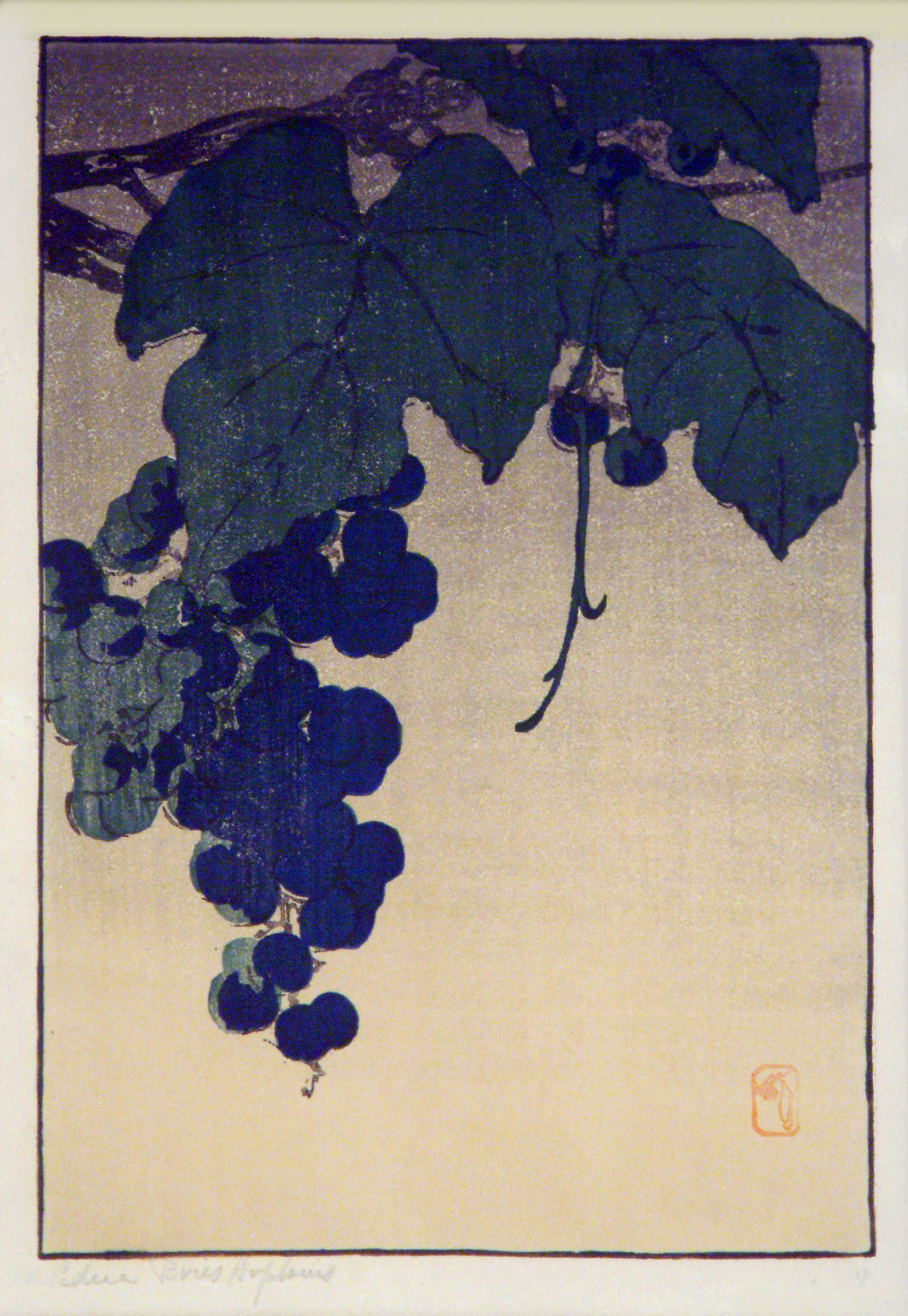 Edna Boies Hopkins   GRAPES   color woodcut   10-7/8 x 7-1/4''   c.1907-09   Private collection, Courtesy of Keny Galleries