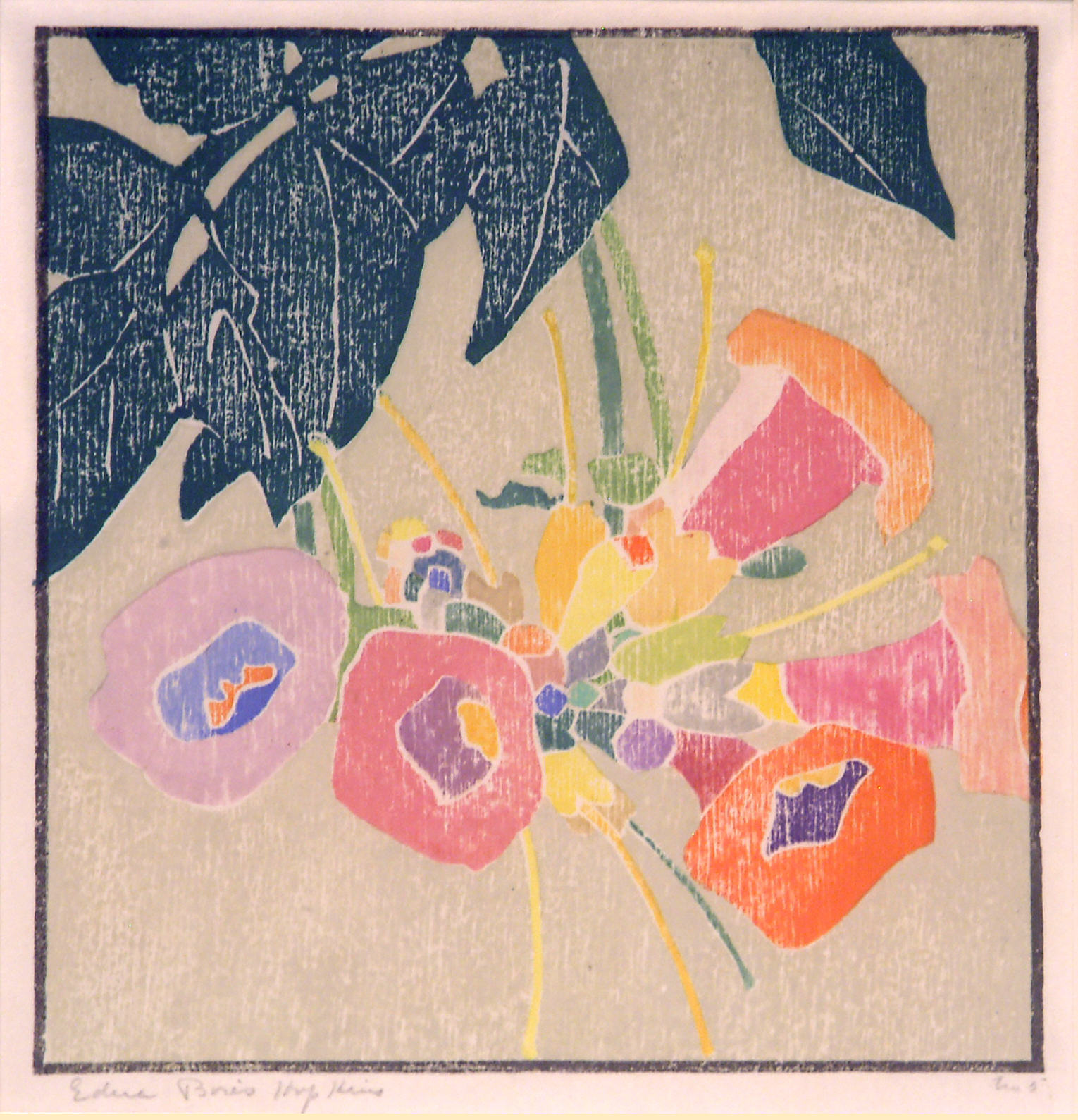 Edna Boies Hopkins | TRUMPET VINE | color woodcut | 9 x 8'' | 1915 | Private collection, Courtesy of Keny Galleries