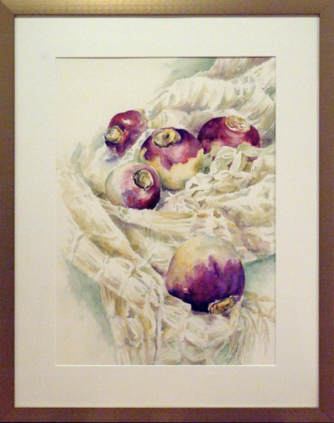 Second Place/Transparent | Elizabeth Osweiler Martin | TUMBLING TURNIPS | transparent watercolor | 2013