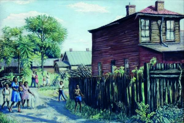 Emerson Burkhart | BACKSTREET PARADE | 1944 | oil on canvas | 22 x 30"