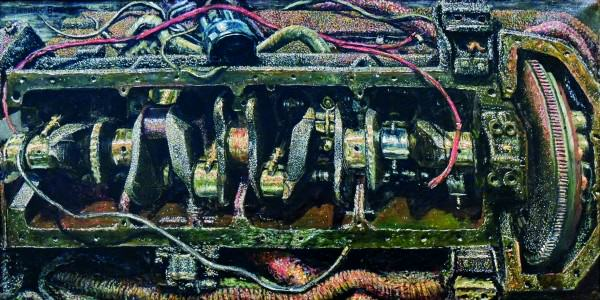 Emerson Burkhart | ENGINE | 1947 | oil on canvas | 20-1/2 x 40-1/2"