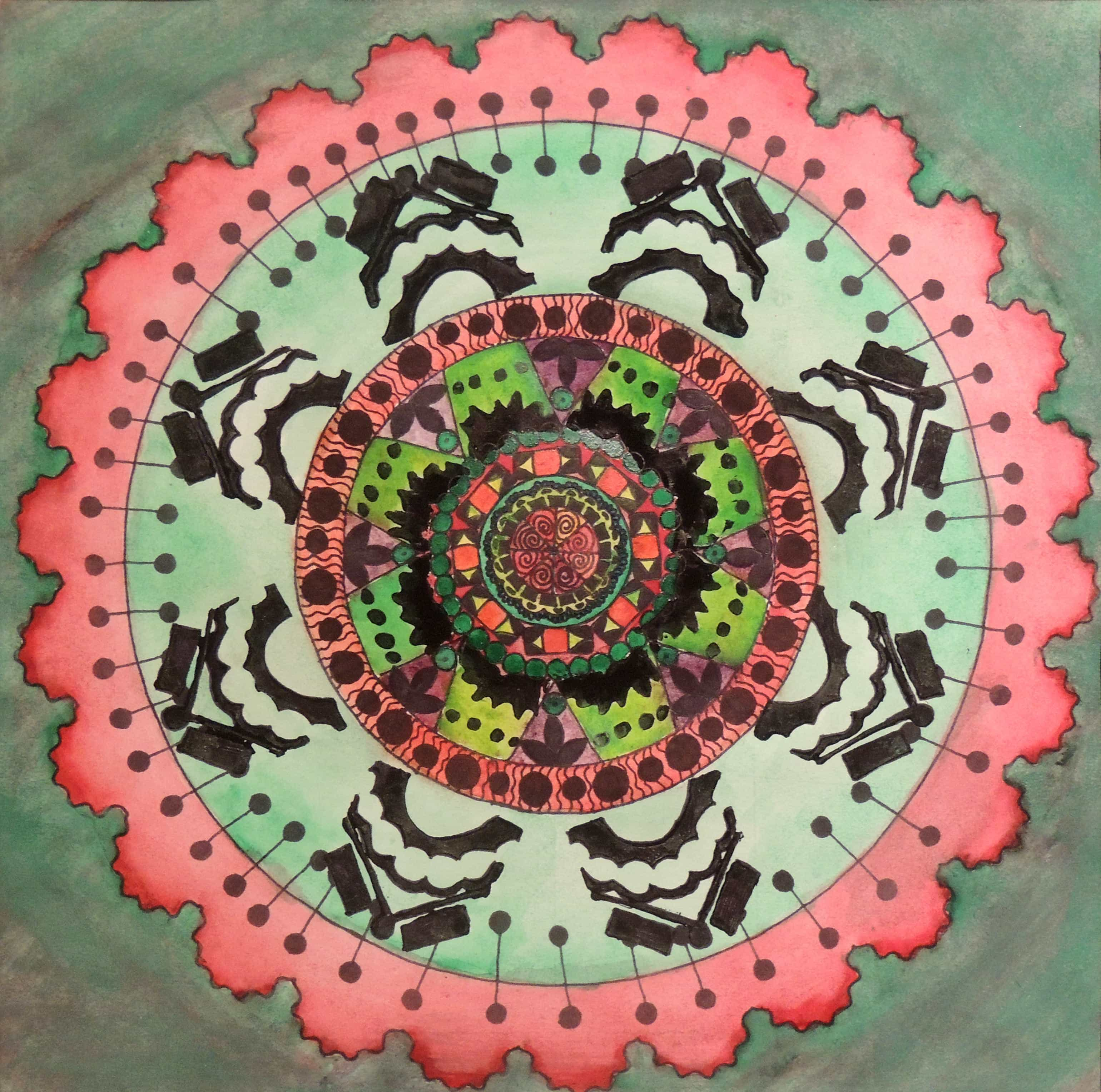 Emma Ray | RADIAL SYMMETRY | mixed media | Shawnee High School Two-Dimensional Art