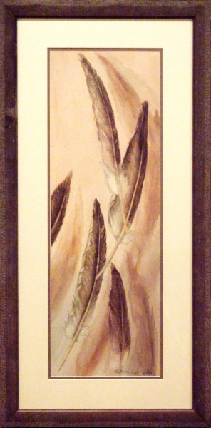Eunice Bronkar | FLOATING PELICAN FEATHERS | transparent watercolor | 2013