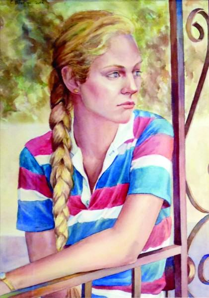 Eunice Bronkar | RAMONA WITH BRAID | watercolor | 2000