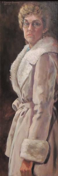 Eunice Bronkar | SELF-PORTRAIT, STANDING IN STUDIO | oil | 1983-84