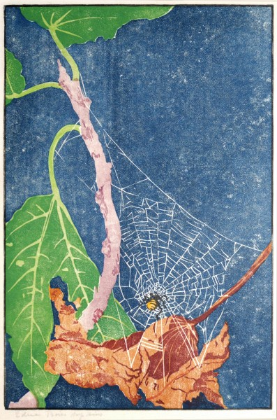 Edna Boies Hopkins | FIG LEAVES | woodblack print