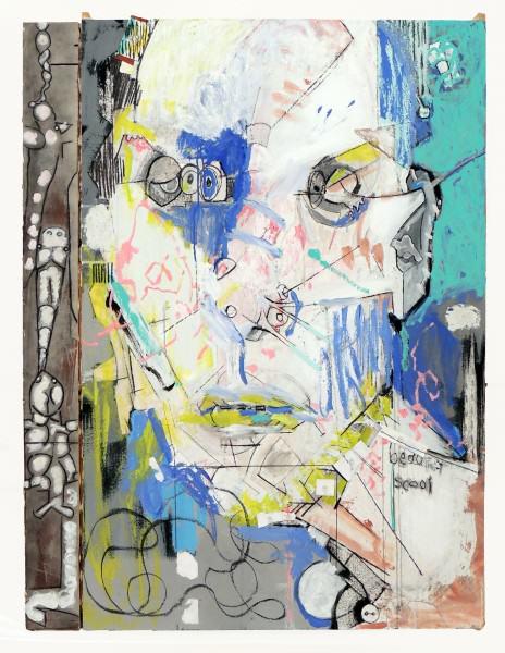 Gary Birch | PORTRAIT WITH AQUATICS | acrylic and charcoal on board