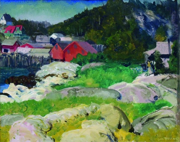 George Bellows | FISHERMEN'S HOUSES, MATINICUS | 1916 | oil on panel | 18 x 22"