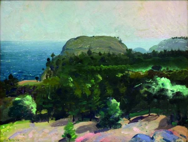 George Bellows | OVER THE TREE TOPS (AUGUST, MONHEGAN ISLAND, MAINE) | 1913 | oil on panel | 15 x 19-1/2"