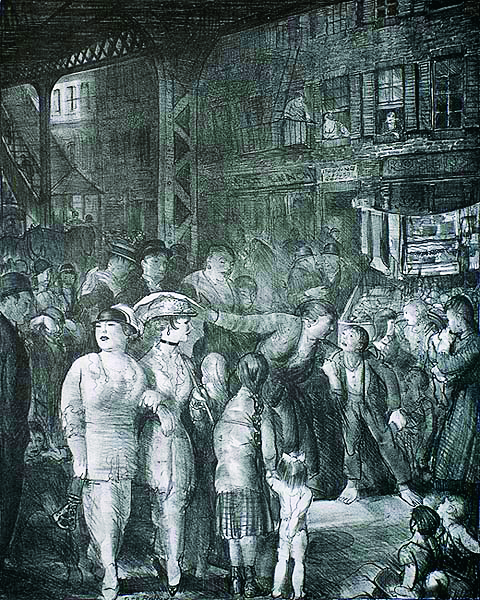George Bellows (1882-1925) | THE STREET | 1917 | lithograph |  19 x 15-1/4"