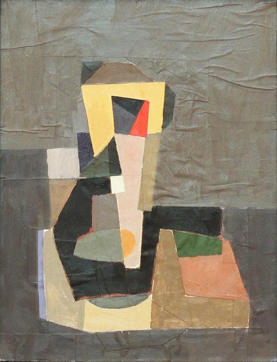 "Glen Cebulash   THE REGULATOR   Oil and cut paper   18 x 14""   2016"