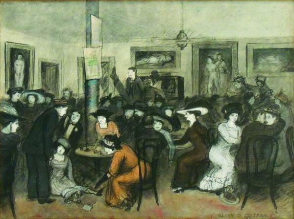 Glenn O. Coleman (1887-1932) | CAFE SCENE, NEW YORK CITY | 1910 | mixed media on paper | 15-1/2 x 20"
