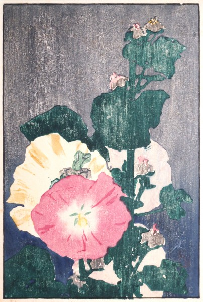Edna Boies Hopkins | HOLLYHOCKS | woodblack print