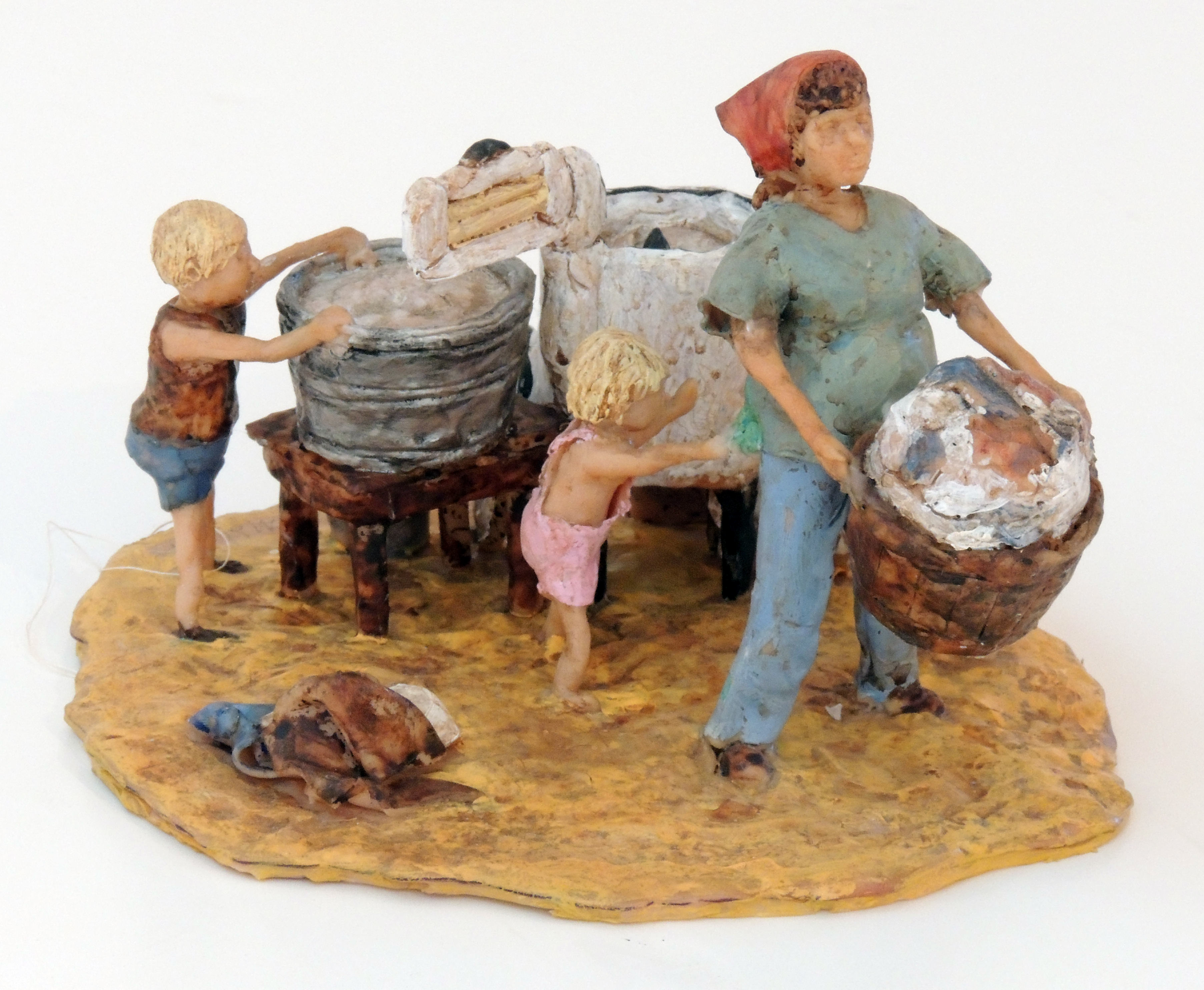 Honorable Mention | Sharon Mohler | DO YOU WORK, OR ARE YOU JUST A HOUSEWIFE? | Polymer clay, wire, and paint