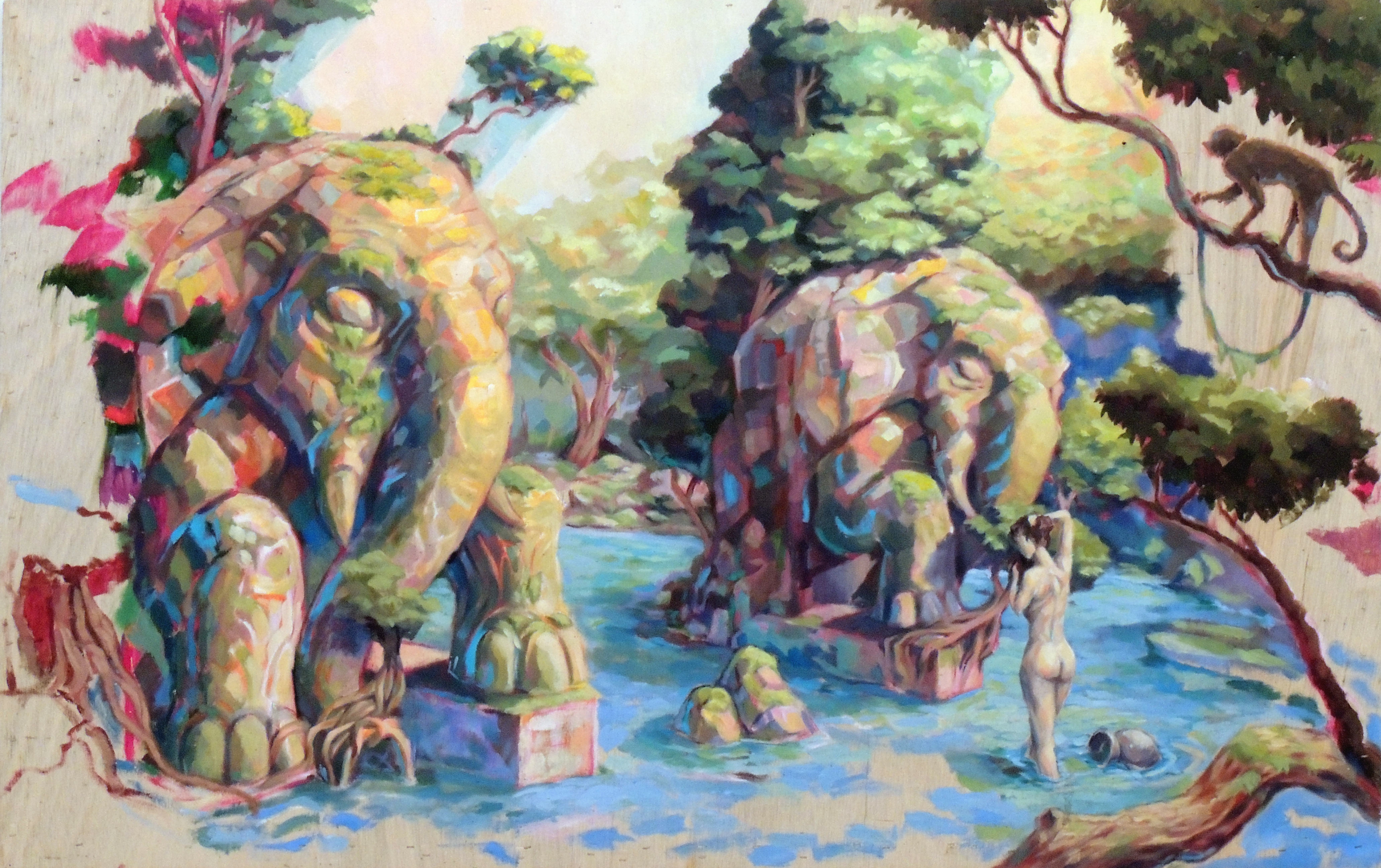 Honorable Mention | Tony Powers | BATHING AT THE ELEPHANT GATE | Acrylic on board