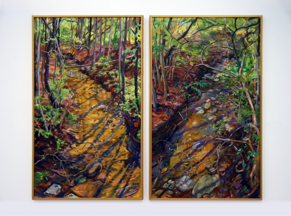 Karen KlingbeIl LaValley | FOOTBRIDGE-WEST VIEW (left) & FOOTBRIDGE-EAST VIEW | oil