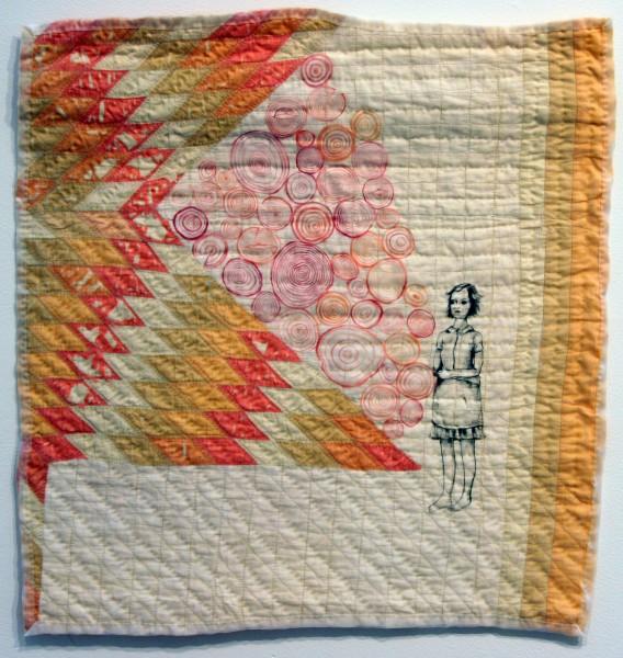 Melissa Vogley Woods | LONE STAR RESERVE | found quilt, acrylic paint, organza, thread | 2007