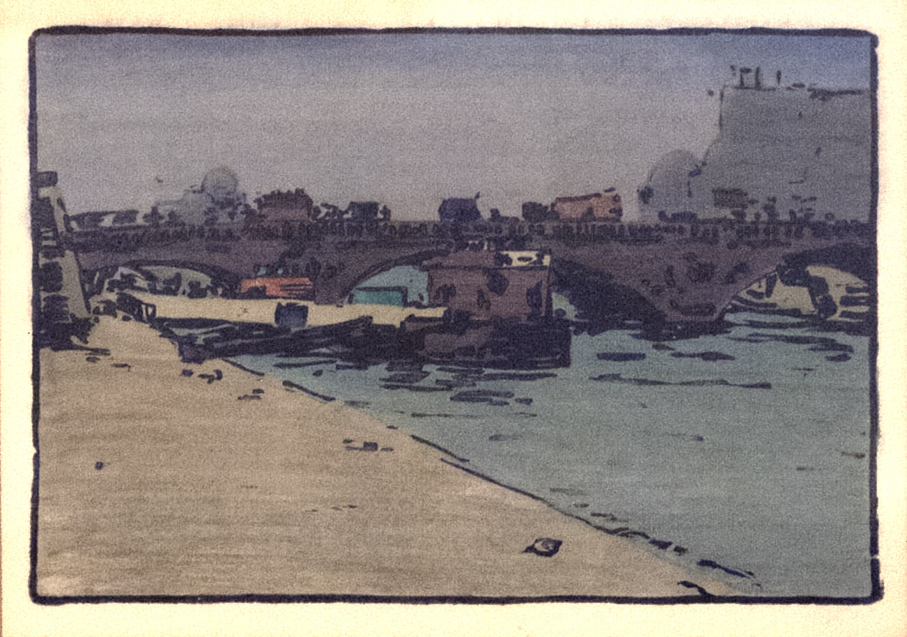 James R. Hopkins | ALONG THE SEINE | color woodcut | 4-1/2 x 6-1/4"