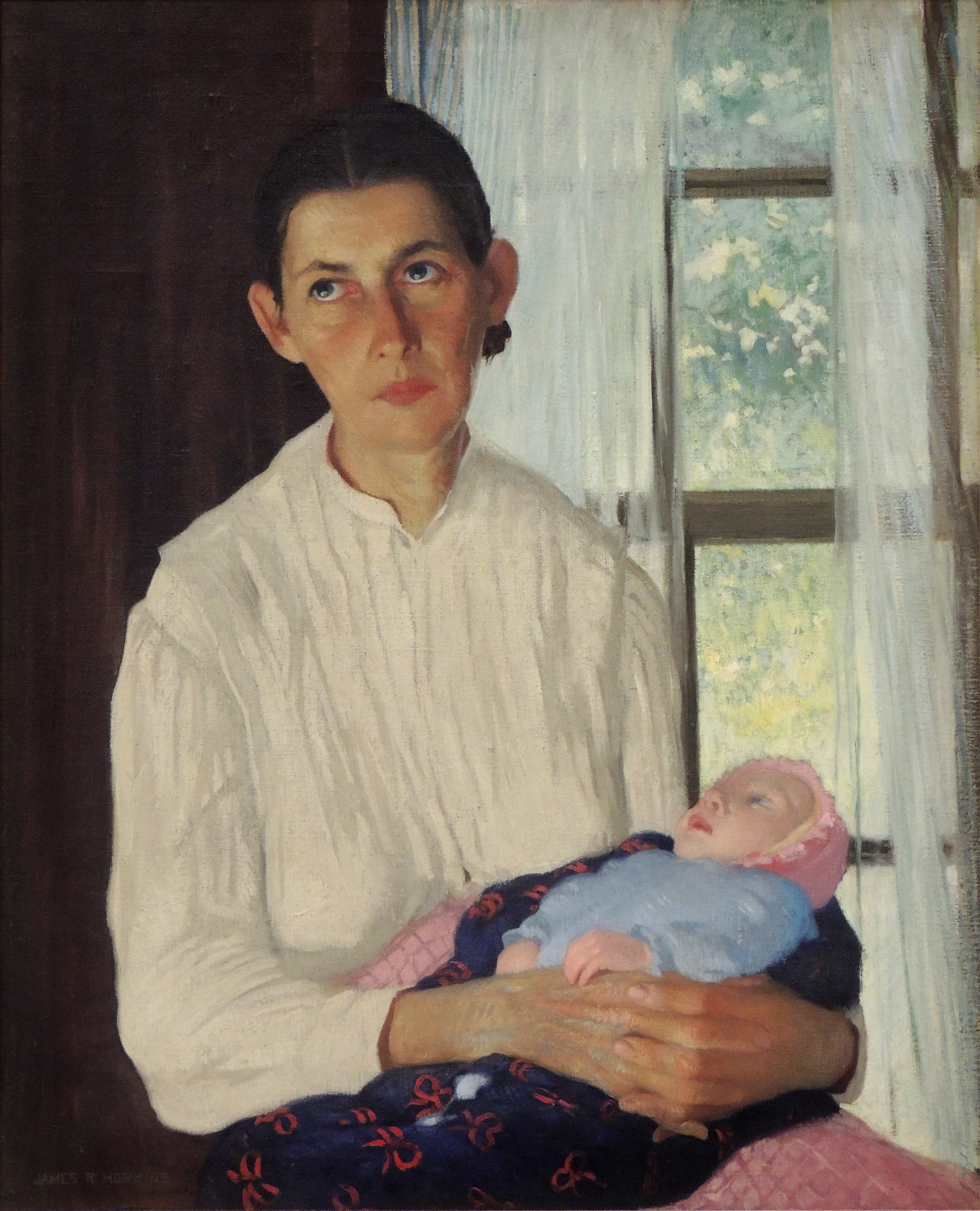 James R. Hopkins | CUMBERLAND WOMAN WITH BABY | oil on canvas | 32 x 26"