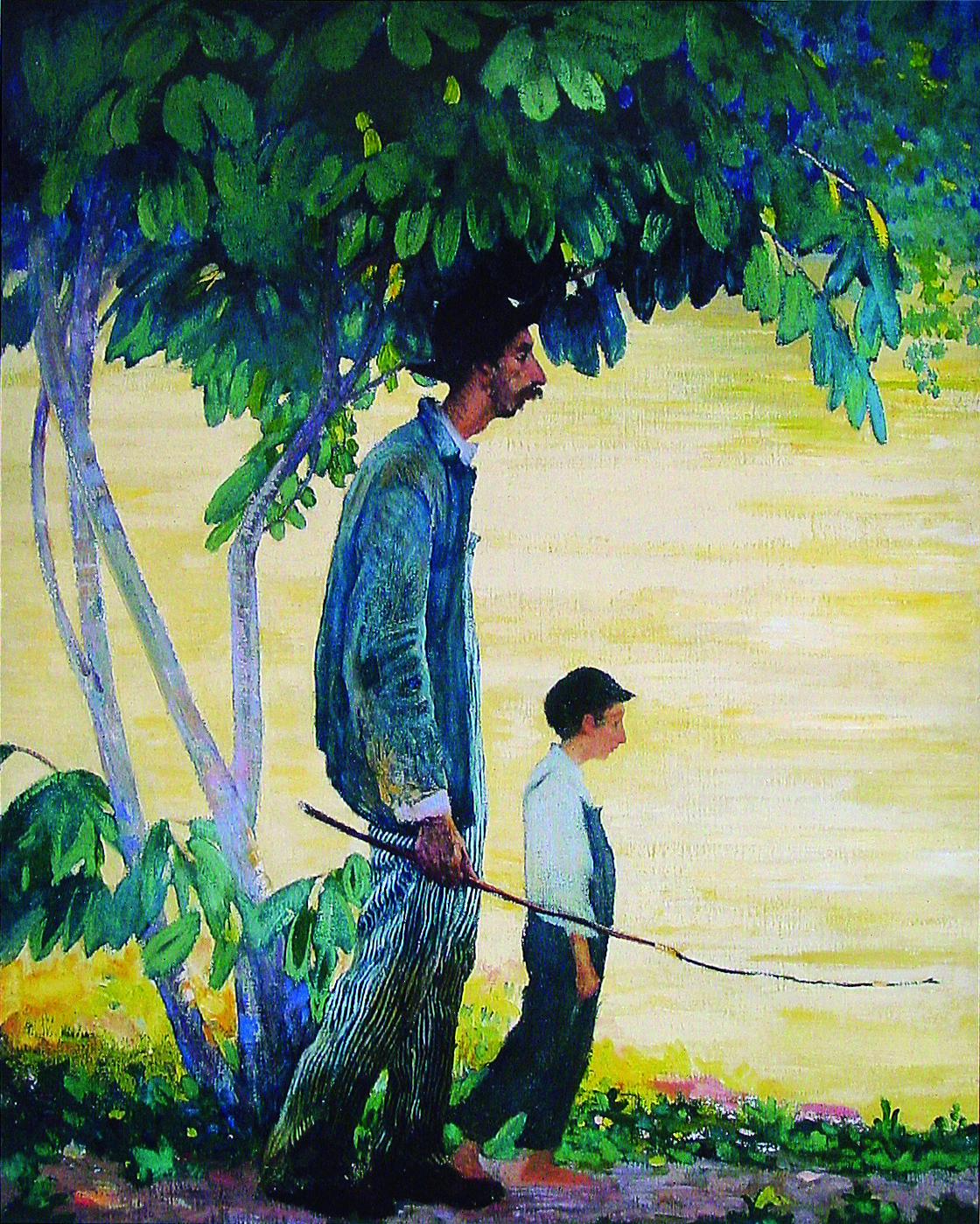 James R. Hopkins | FISHERMAN AND BOY | oil on canvas | 31 x 25-1-2"