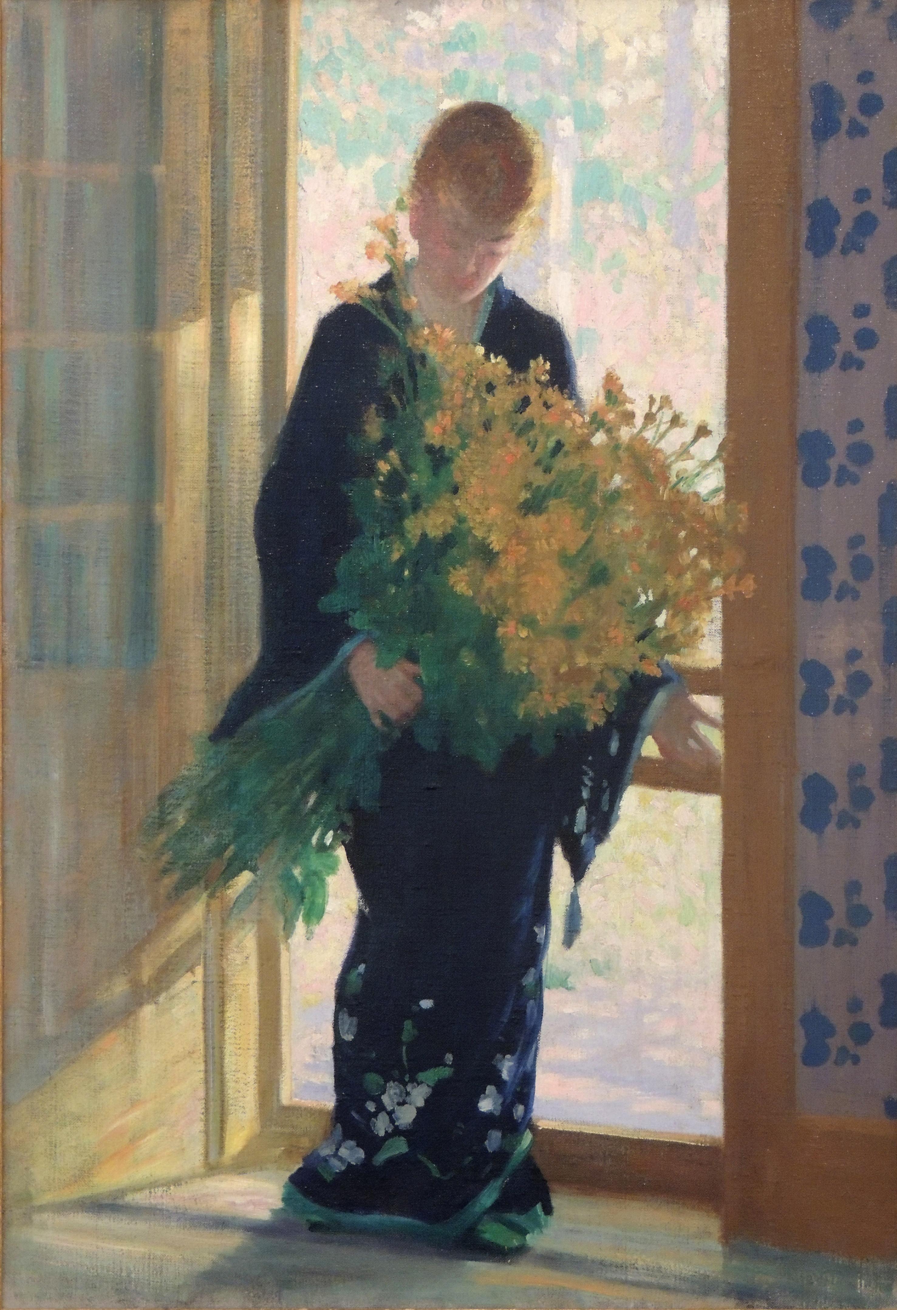 "James R. Hopkins | FRESH FLOWERS | oil on canvas | 26 x 22"" | c.1920 | Anne S. Davidson"