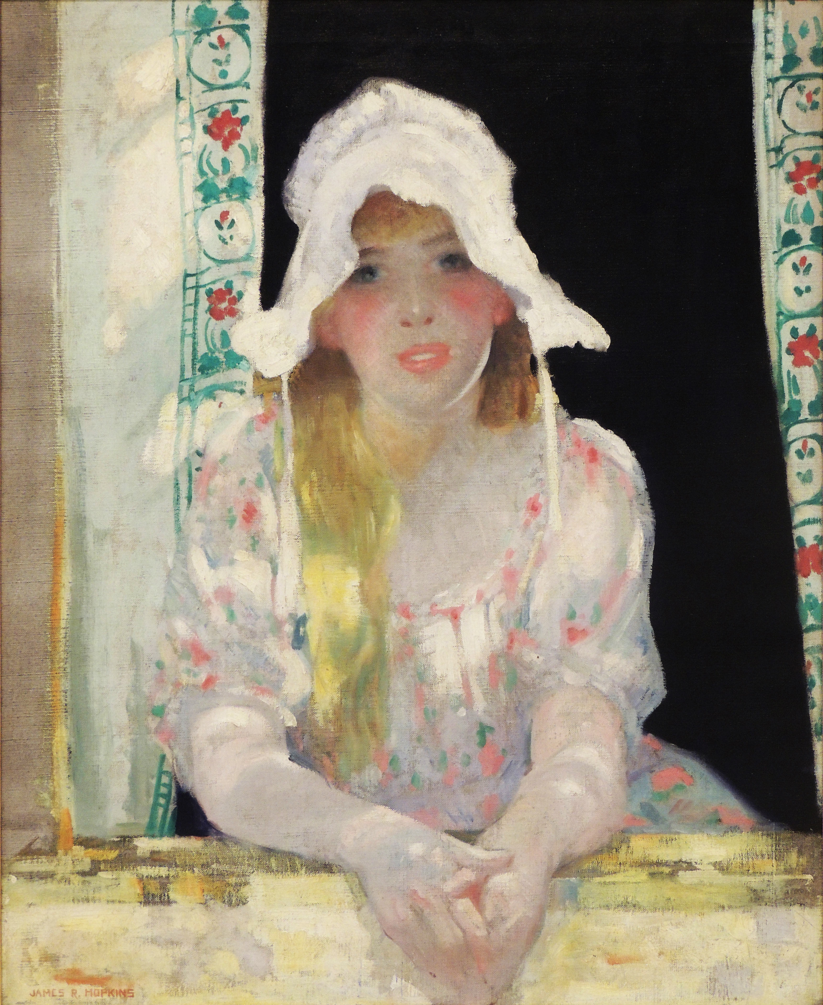 James R. Hopkins | GIRL WITH THE SUN BONNET | oil on canvas | 32 x 26"