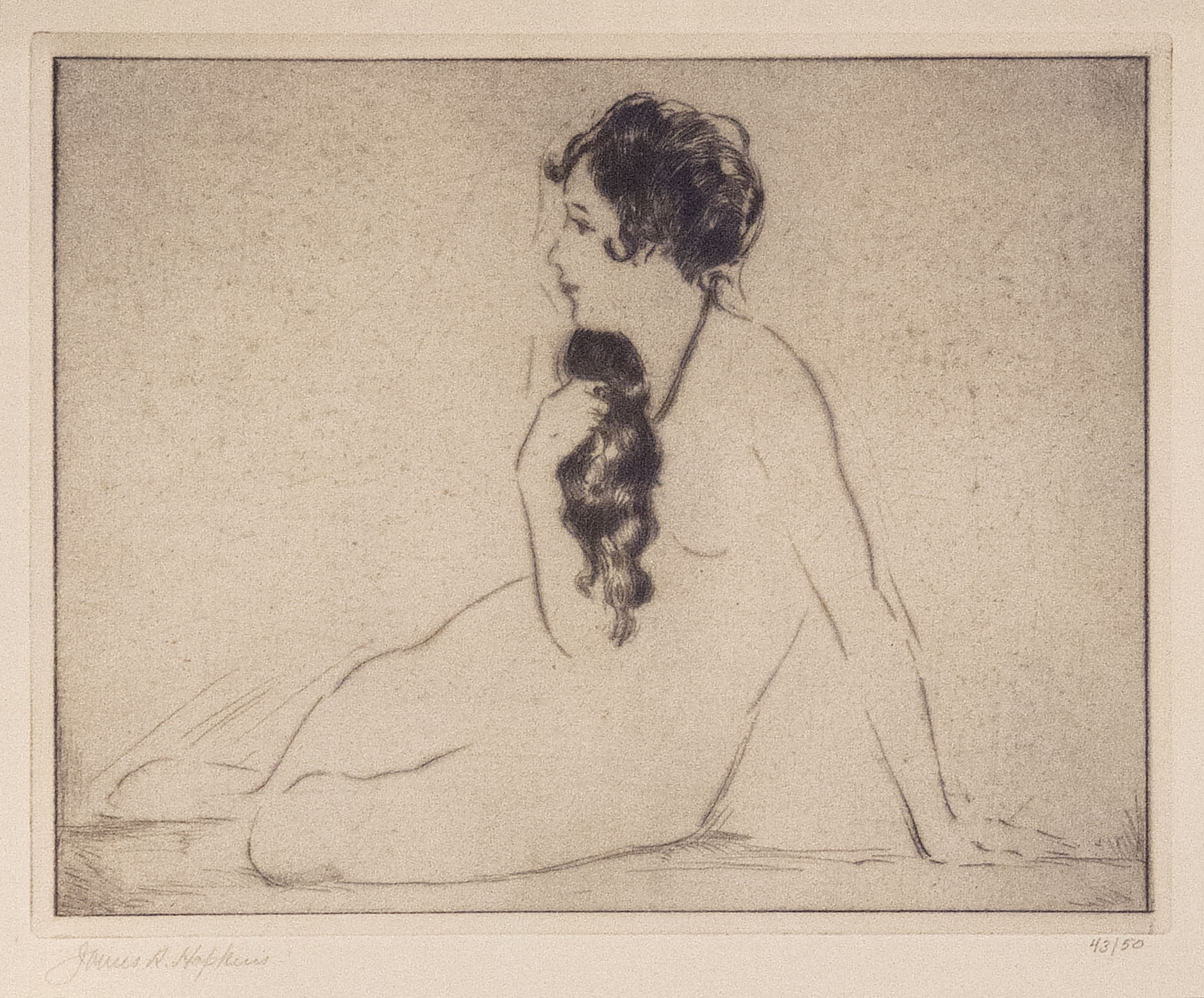 James R. Hopkins | GIRLHOOD (NUDE FACING LEFT WITH CASCADING HAIR) | etching | 6-1/8 x7-2/4"