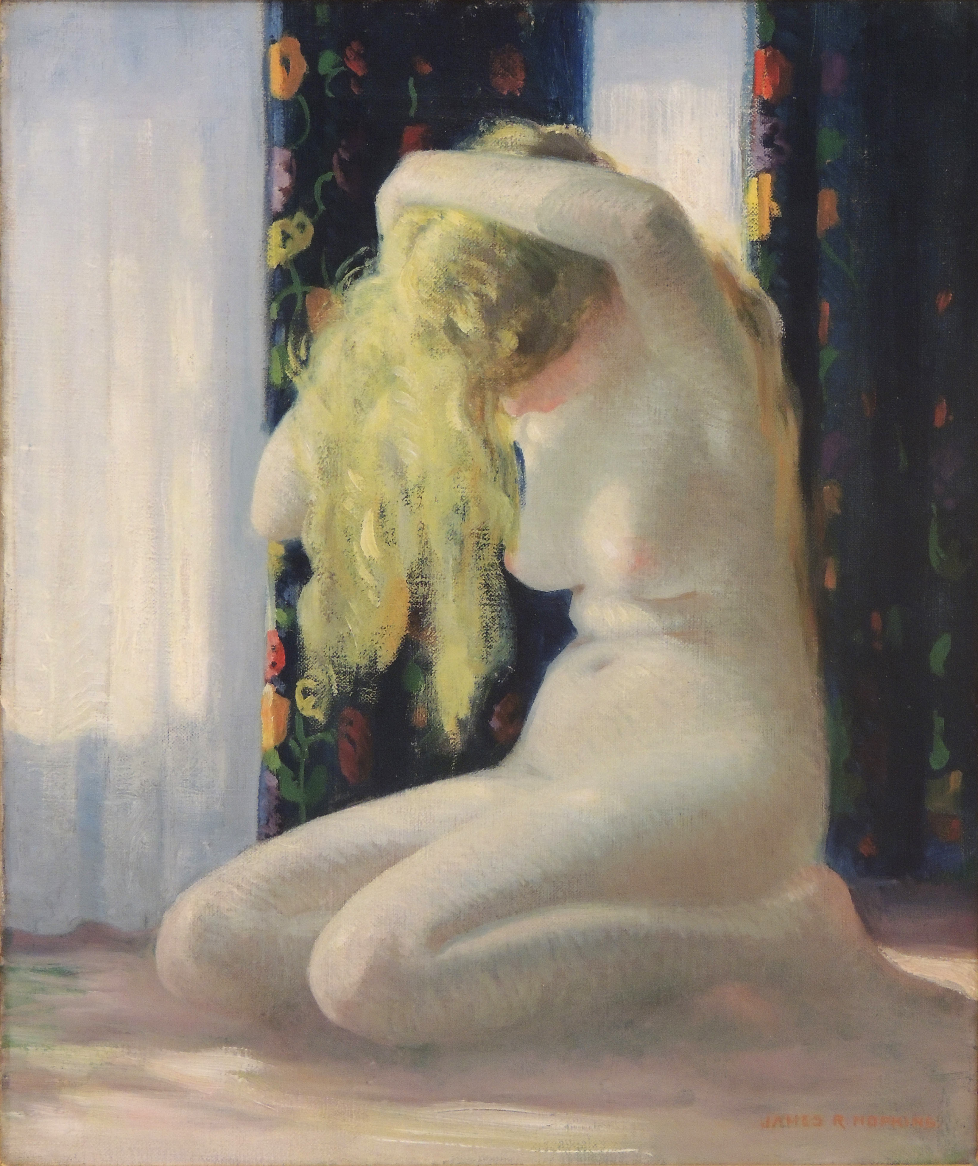 James R. Hopkins | GOLDEN TRESSES | oil on canvas | 18 x 15"