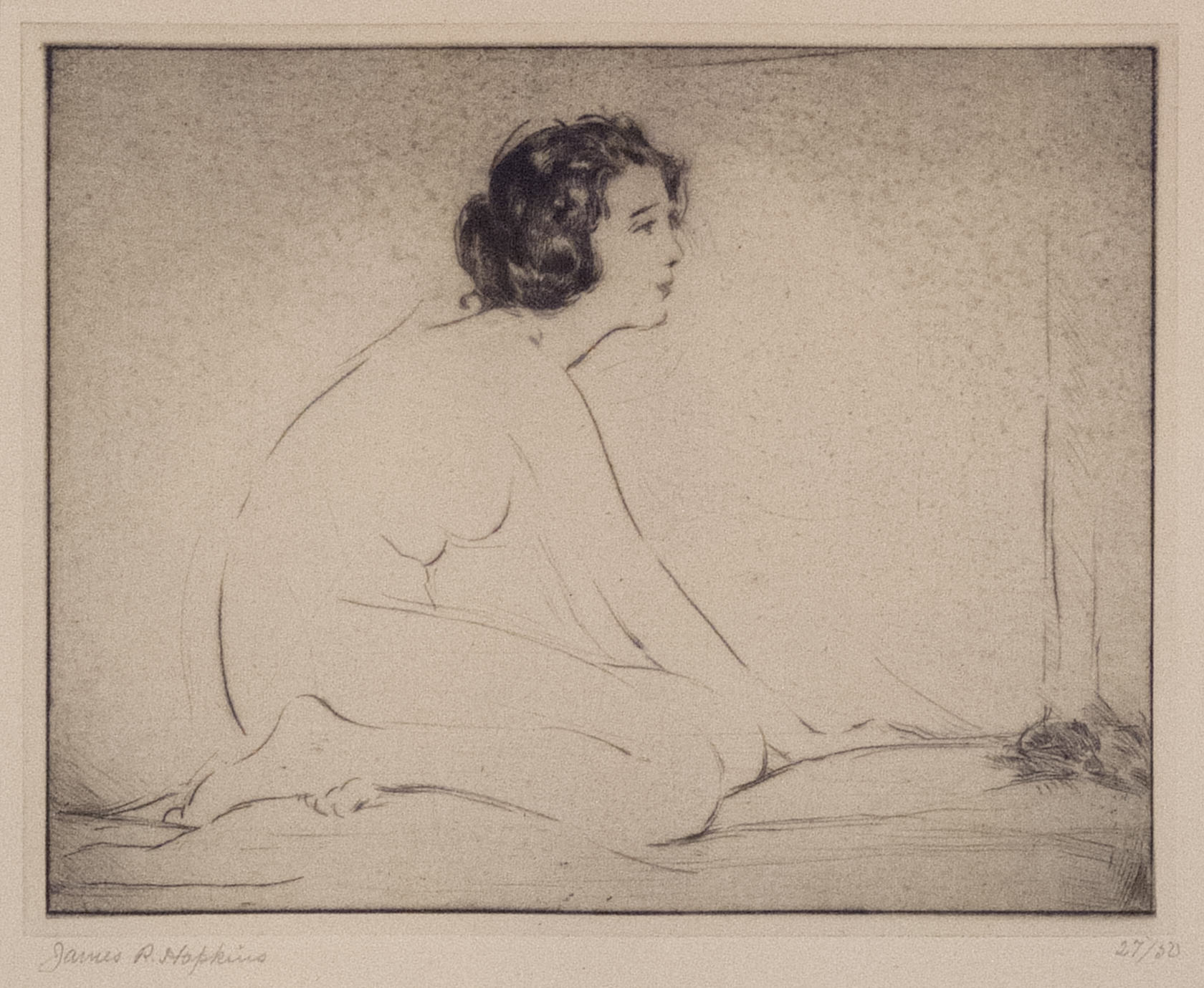 James R. Hopkins | LYRIC (KNEELING NUDE FACING RIGHT) | etching | 6-1/4 x 7-3/4"