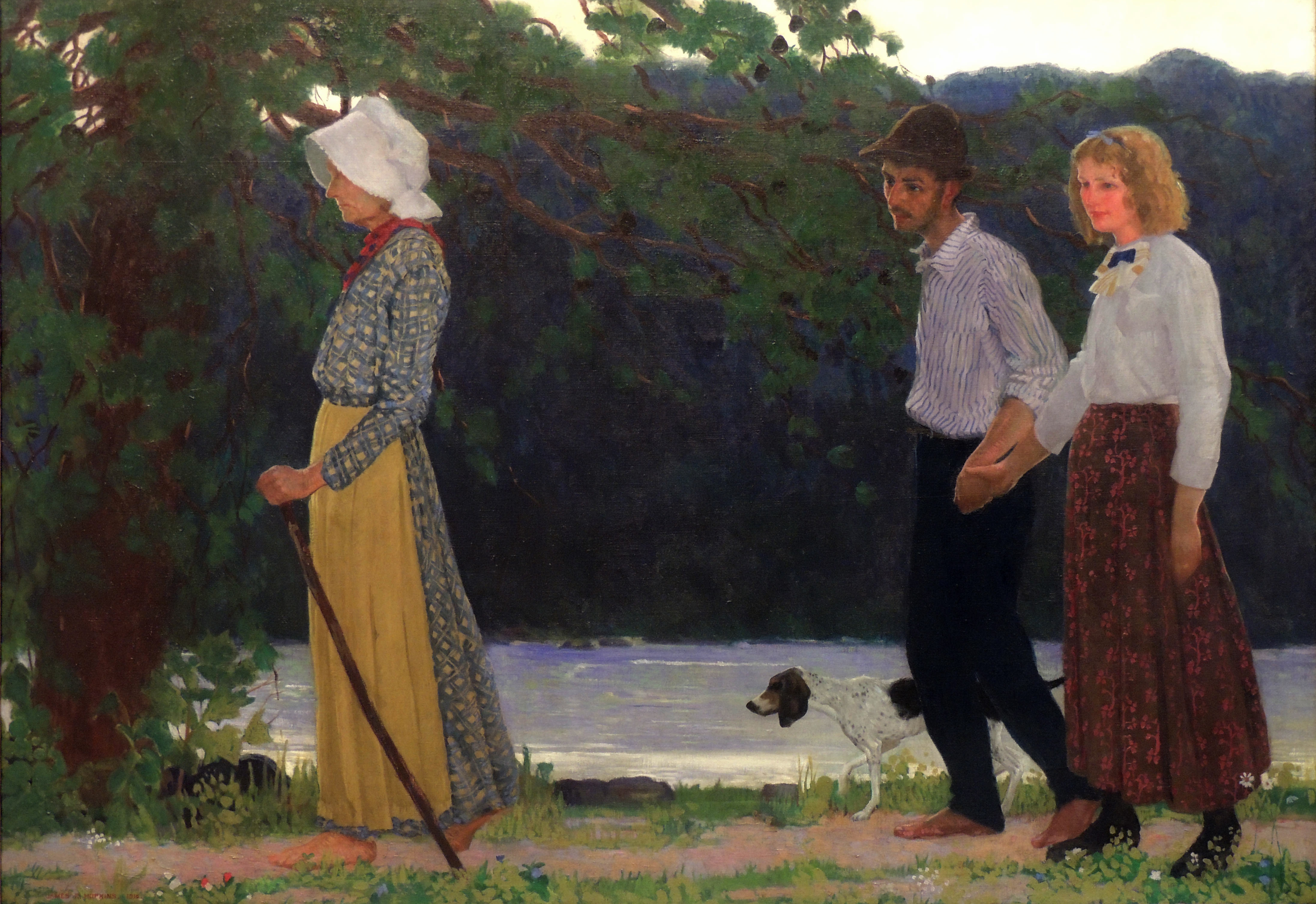 James R. Hopkins | MOUNTAIN COURTSHIP | oil on canvas | 45 x 65"