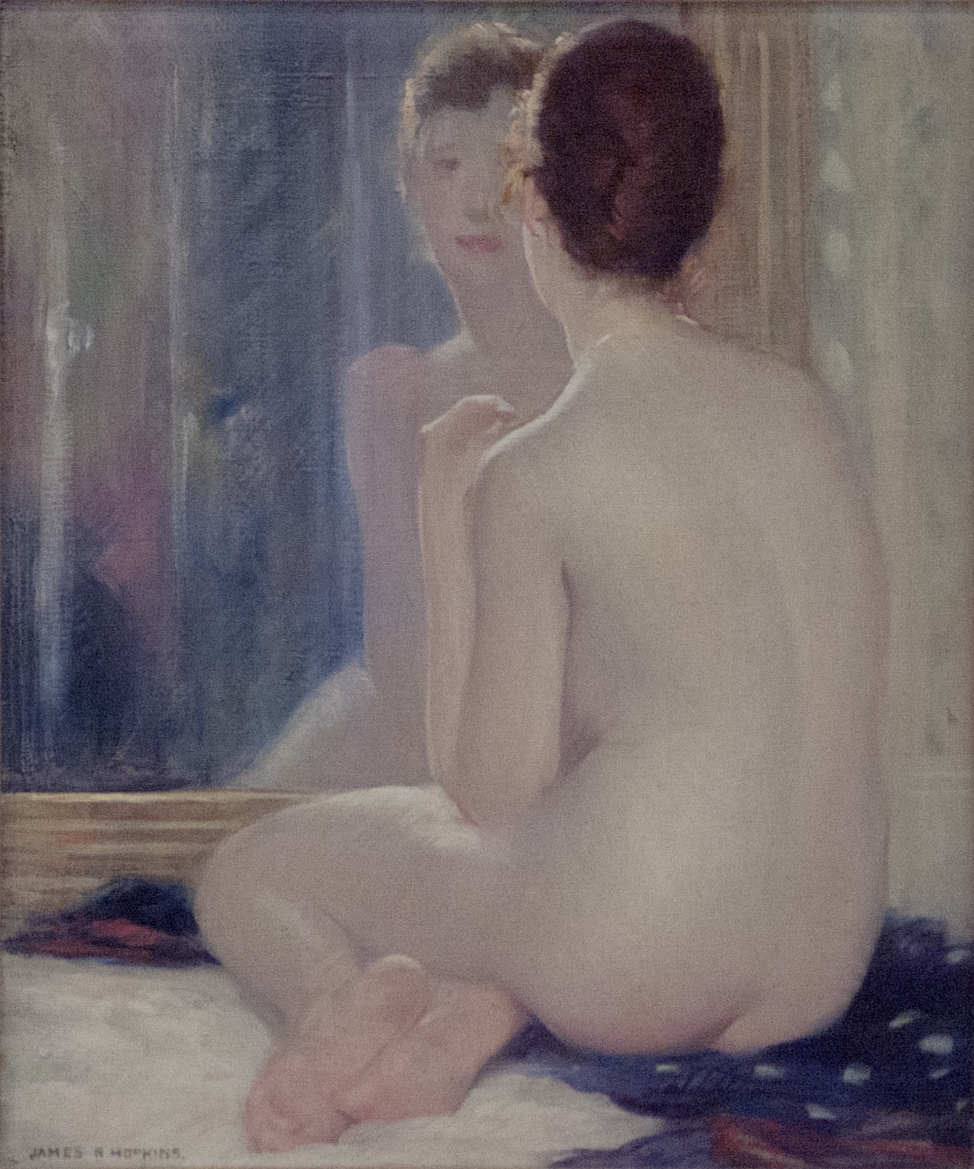 James R. Hopkins | NUDE REFLECTED IN A MIRROR | oil on canvas | 18 x 15"