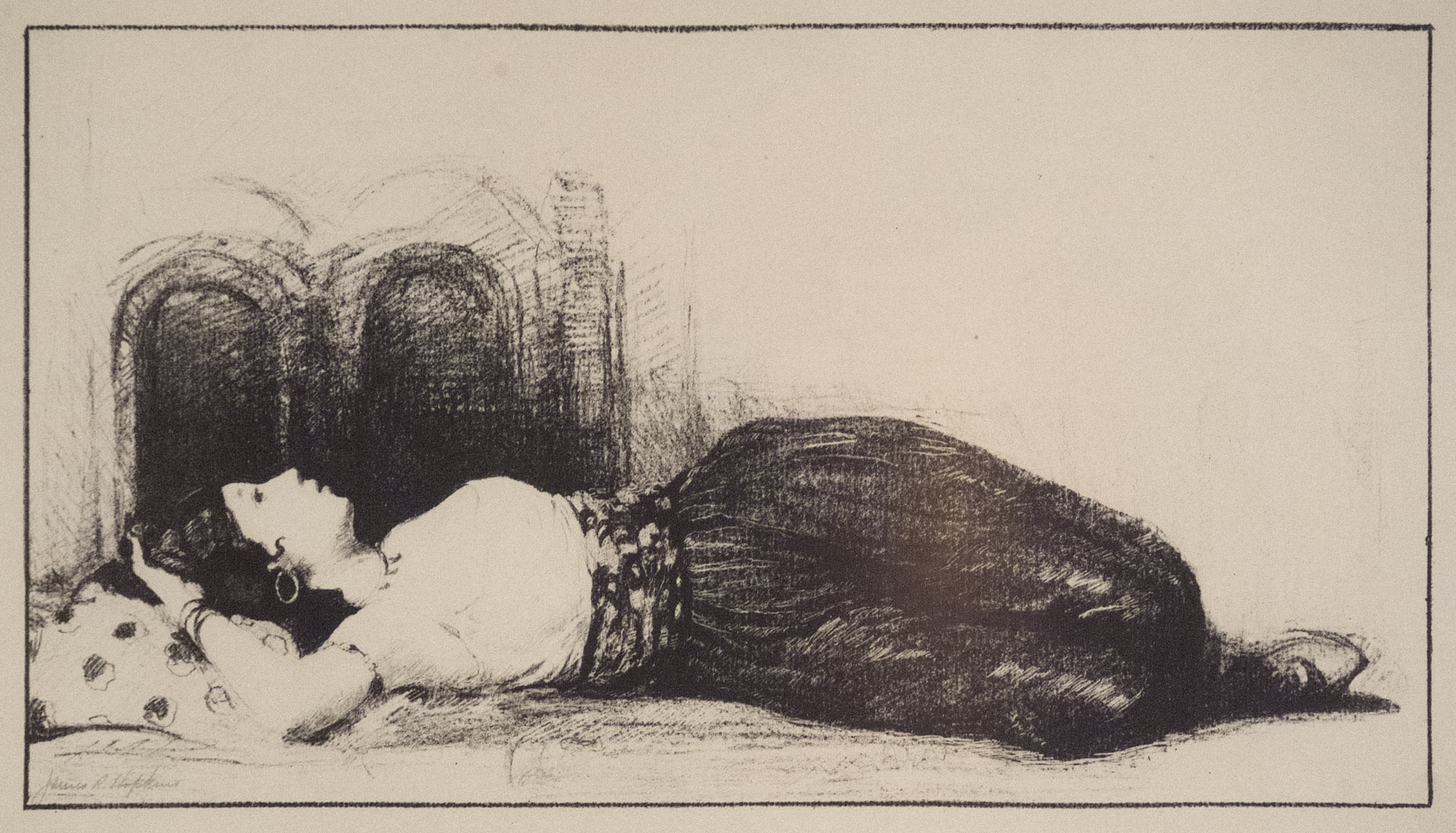 James R. Hopkins | RECLINING FEMALE IN FRONT OF DOUBLE ARCHES | lithograph | 7-1/2 x 613-1/4"