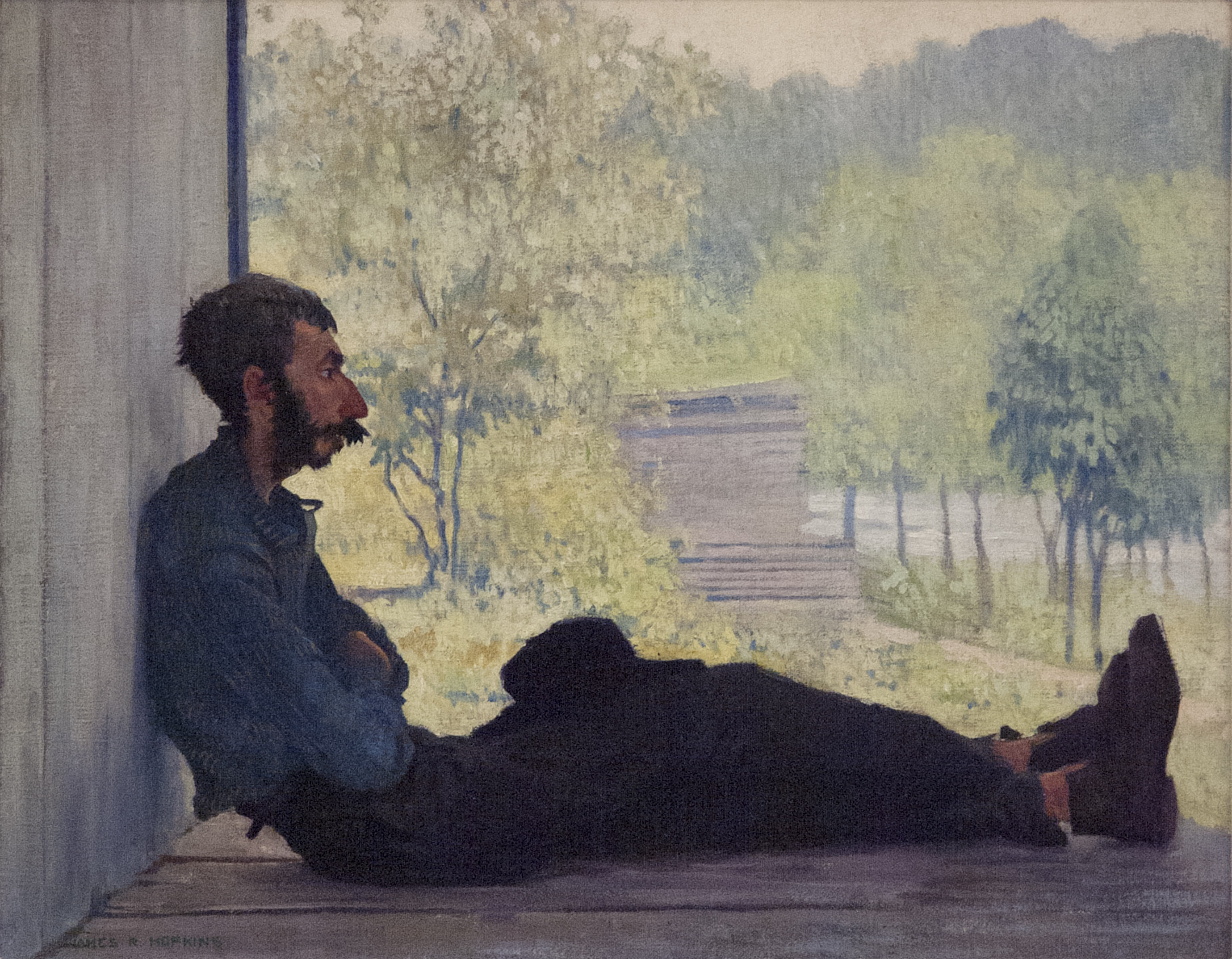 James R. Hopkins | RESTIN' | oil on canvas | 15 x 18-1/4"