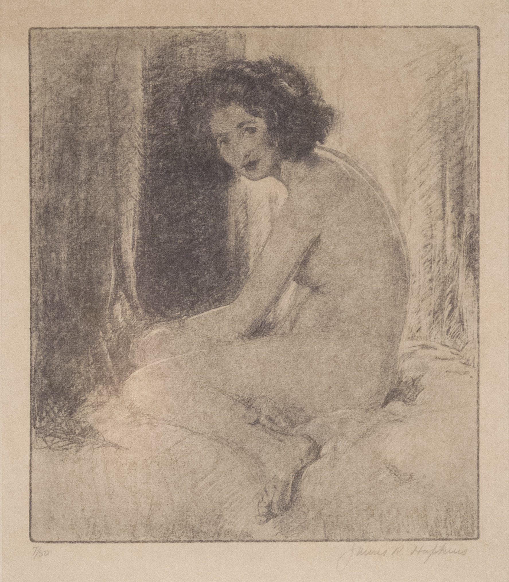 James R. Hopkins | SEATED FEMALE FIGURE | etching | 8-1/2 x 7-1/4"