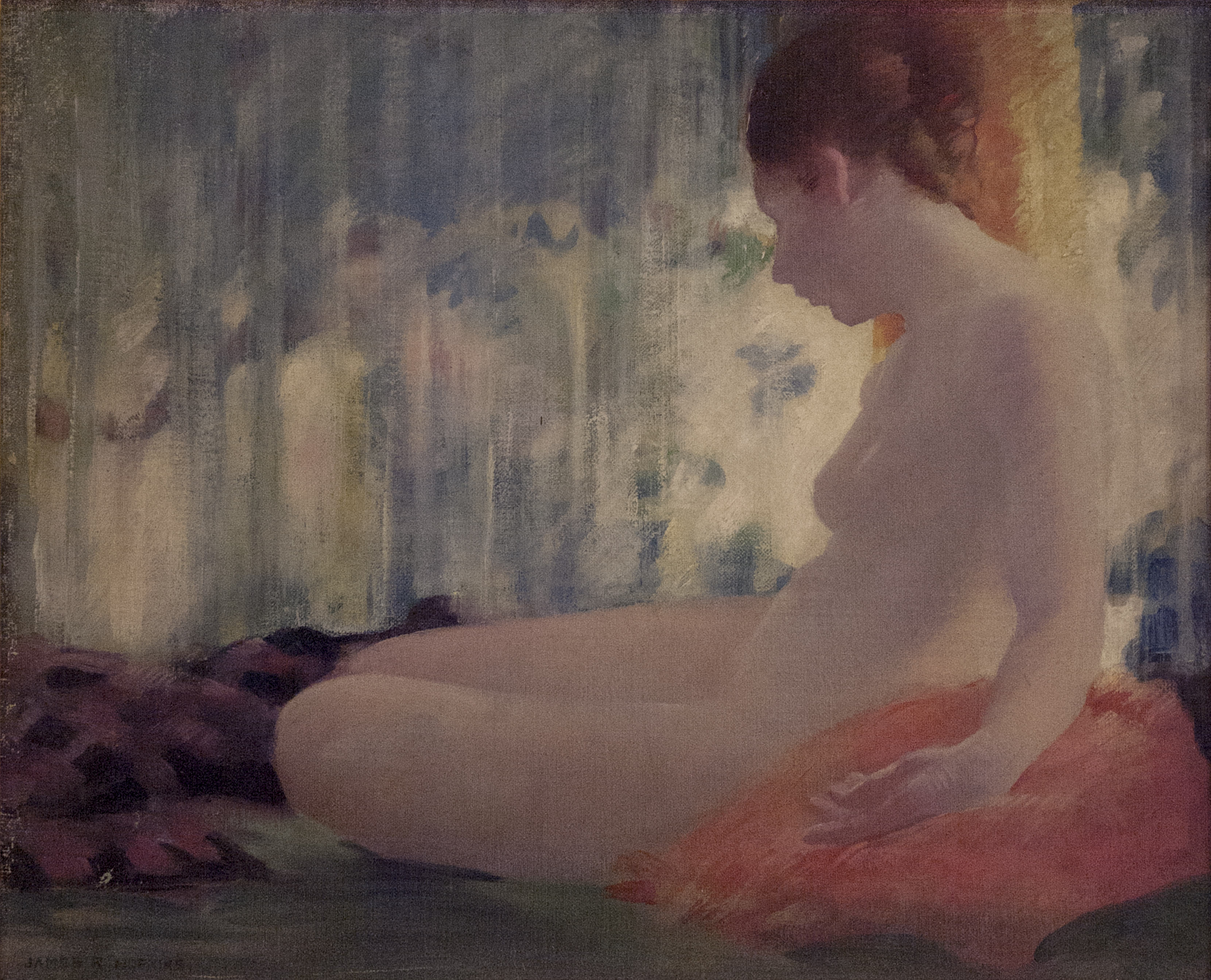 James R. Hopkins | SEATED NUDE, ORANGE PILLOW (CYNTHIA) | oil on canvas | 15 x 18"