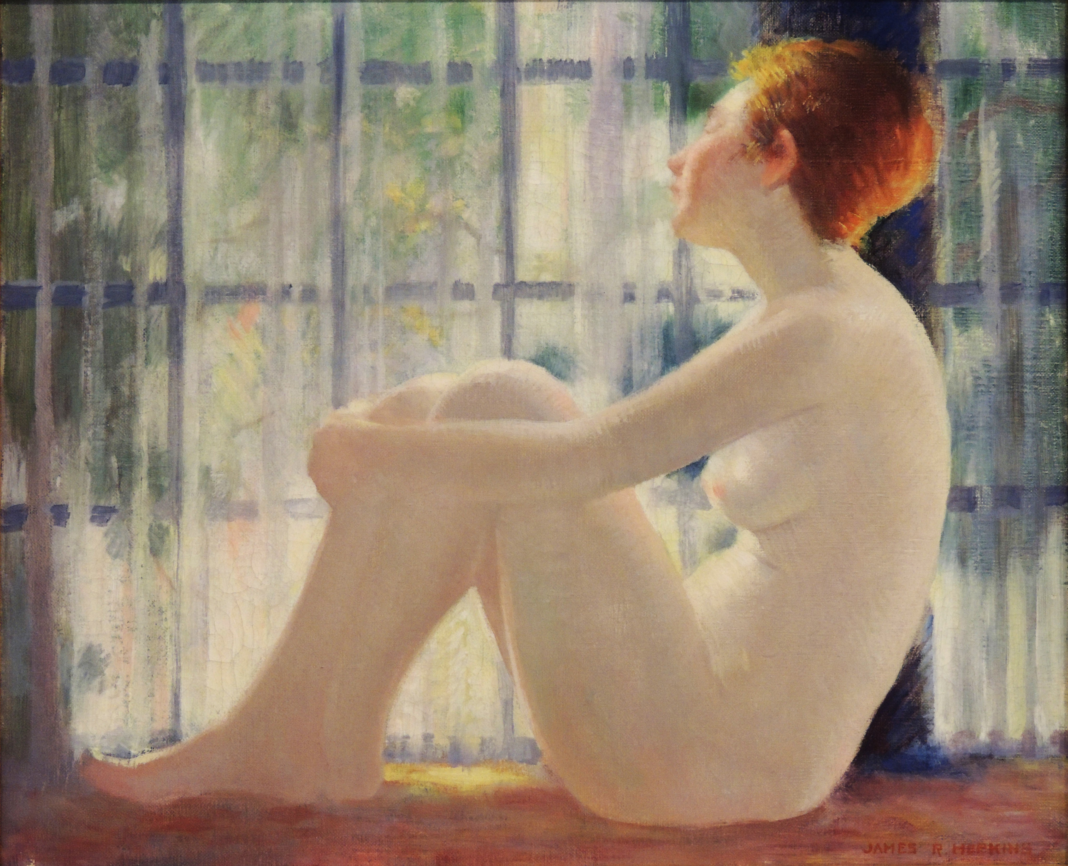 James R. Hopkins | SEATED NUDE WITH RED HAIR | oil on canvas | 15 x 18"