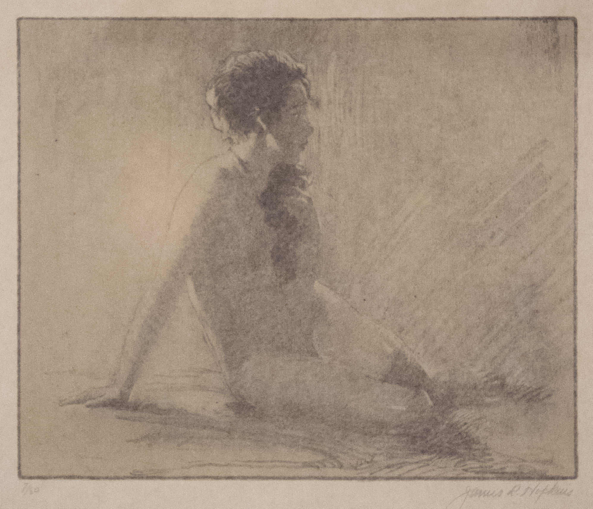 James R. Hopkins | SHADOWS (NUDE FACING RIGHT WITH CASCADING HAIR) | lithograph | 7 x 8-1/2"