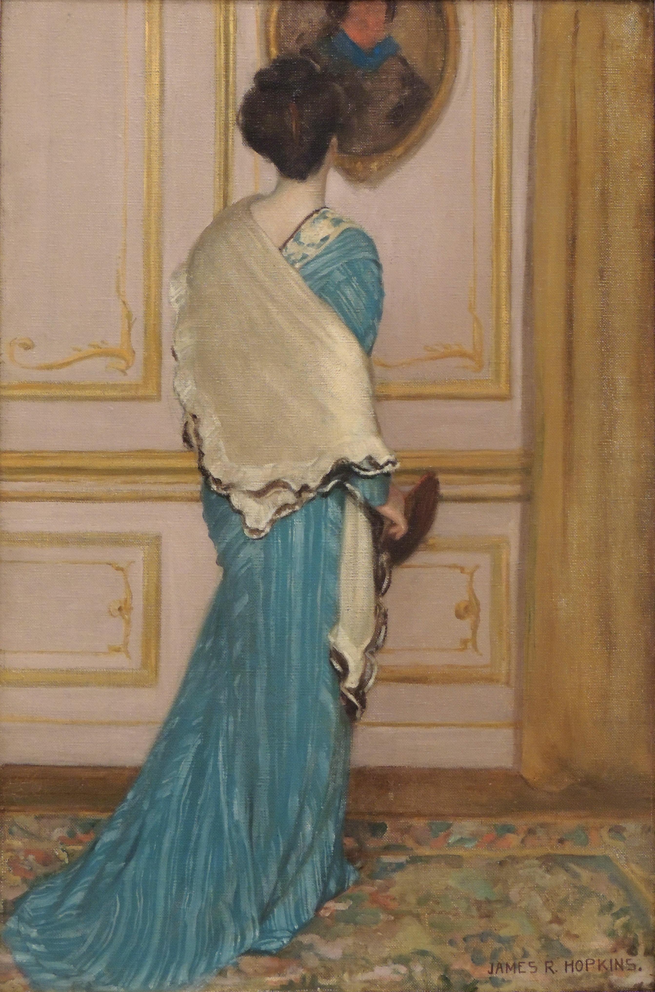 "James R. Hopkins | SOUVENIRS D'AUTUN | oil on canvas | 51-1/2 x 21-1/2"" | Anonymous Loan"
