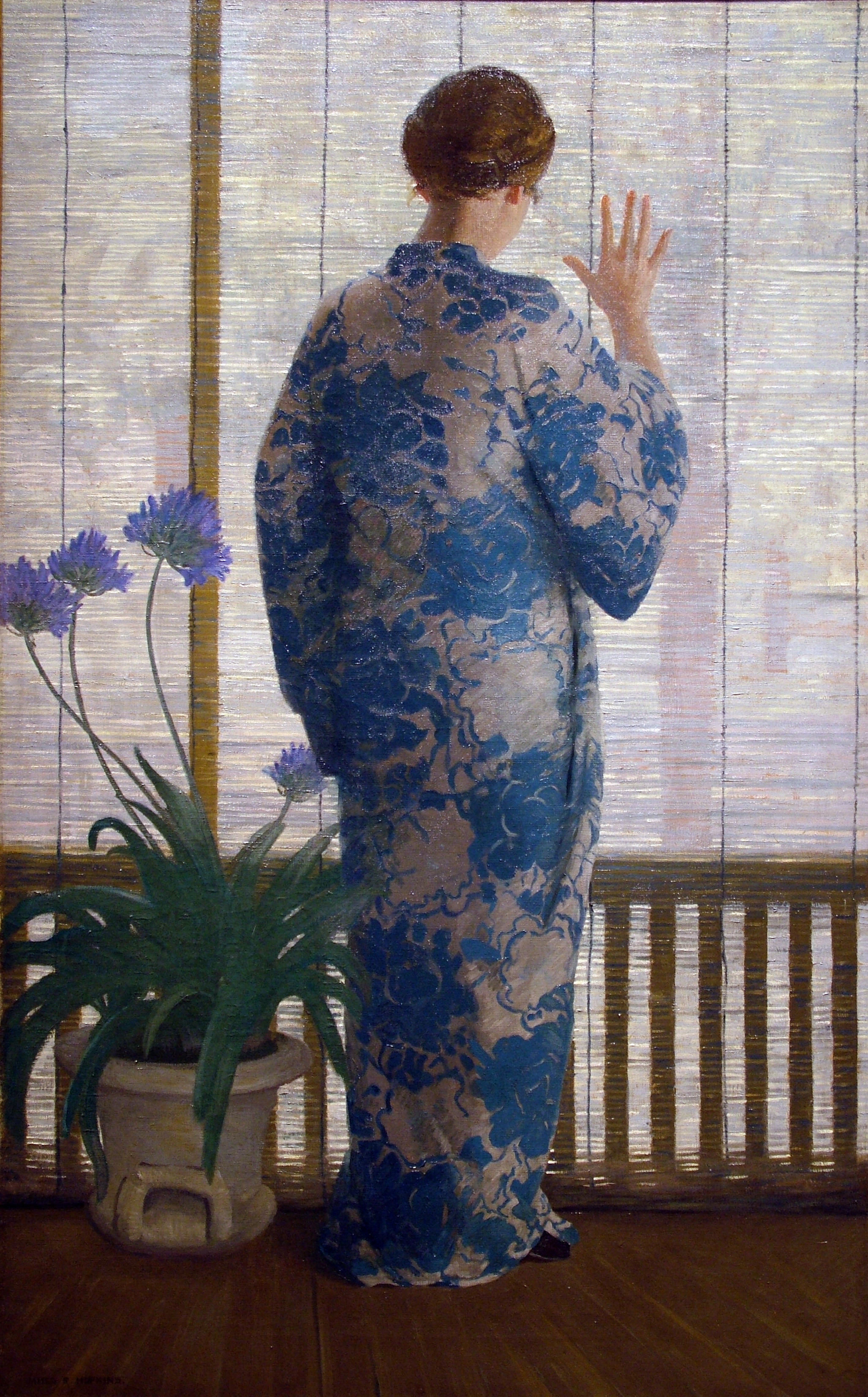 James R. Hopkins | THE BAMBOO SCREEN | oil on canvas | 51-3/8 x 32"