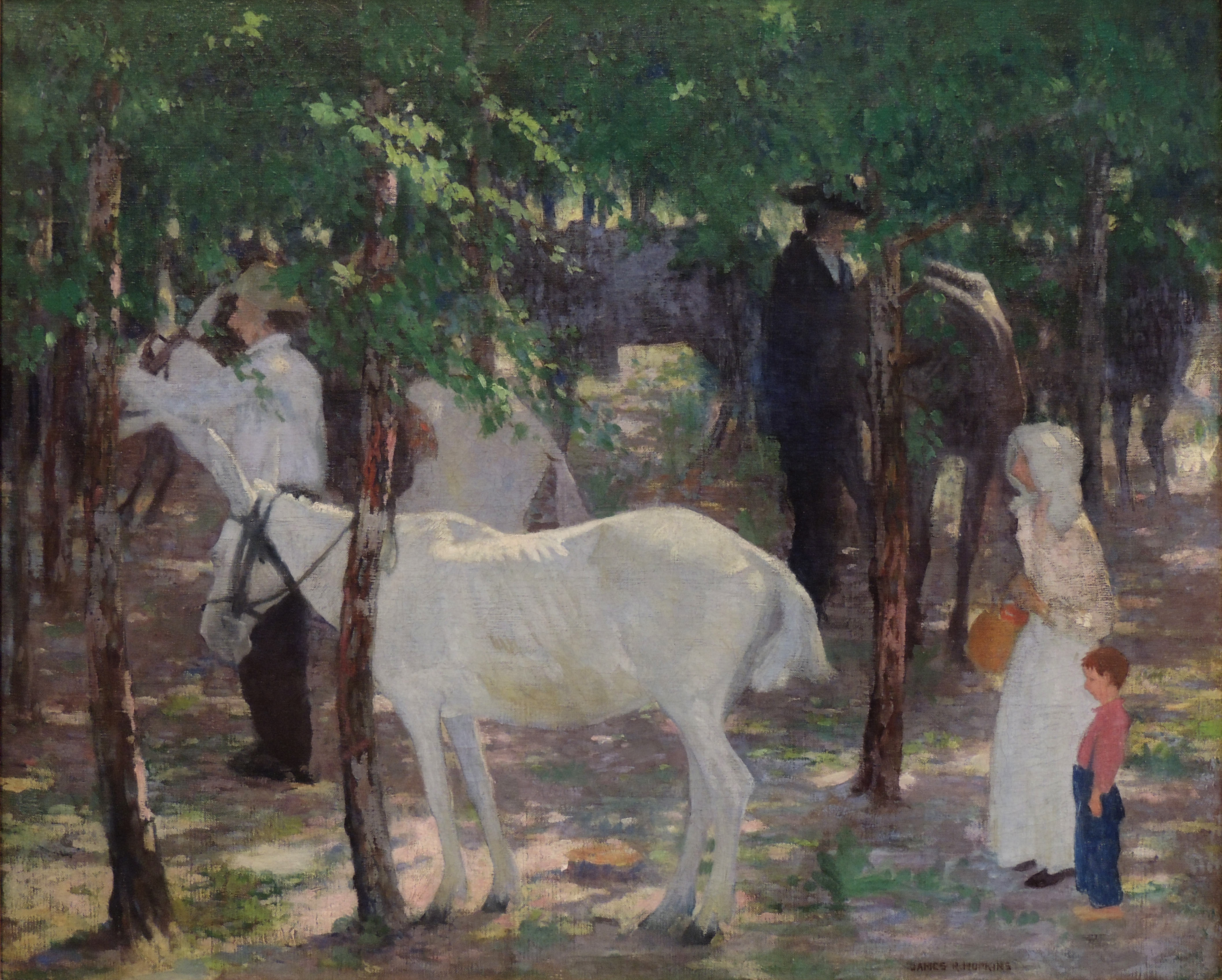 James R. Hopkins | THE HITCHING GROVE | oil on canvas | 26 x 32"