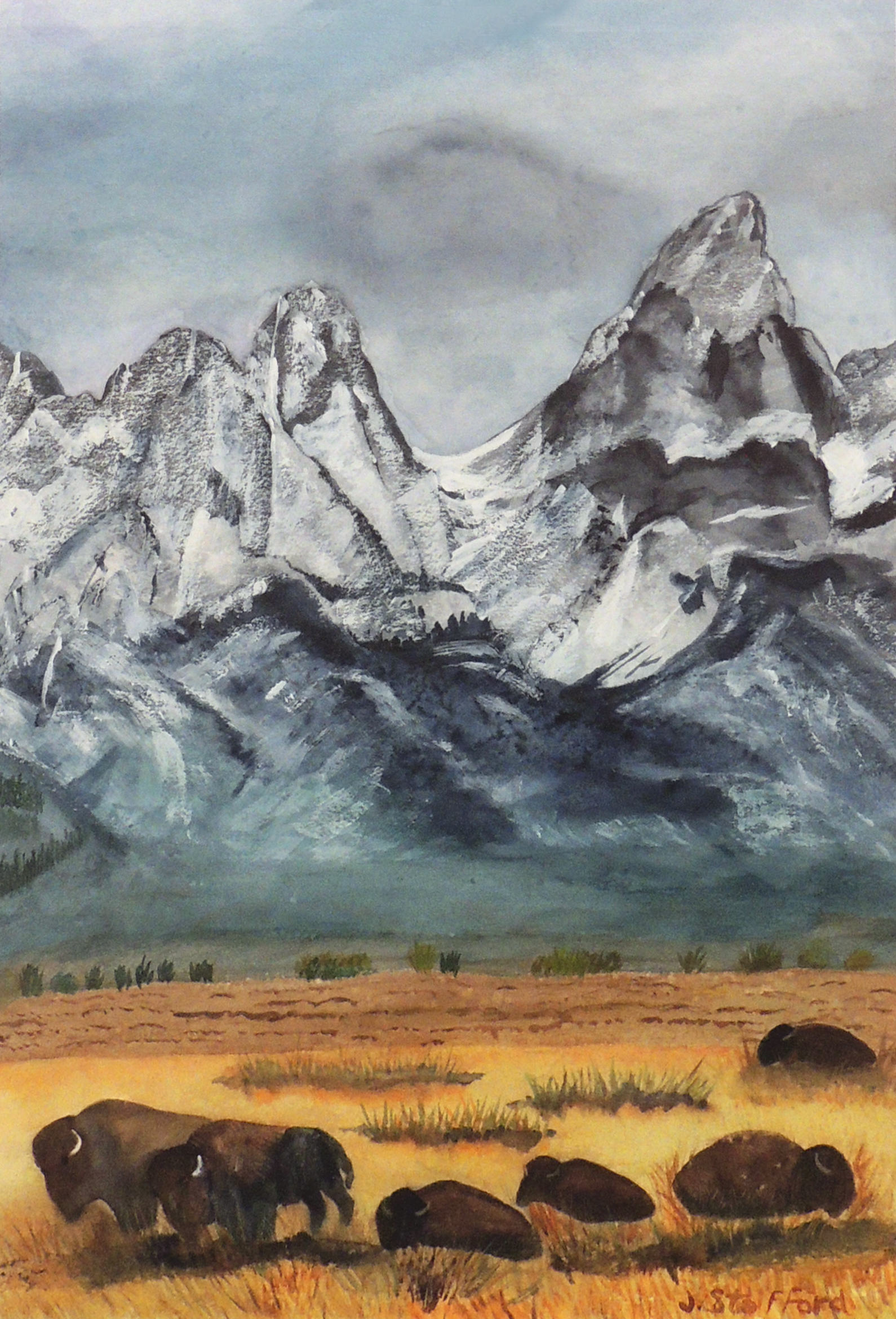 Jane Stafford | THE GRAND TETON AND FRIENDS | Watercolor