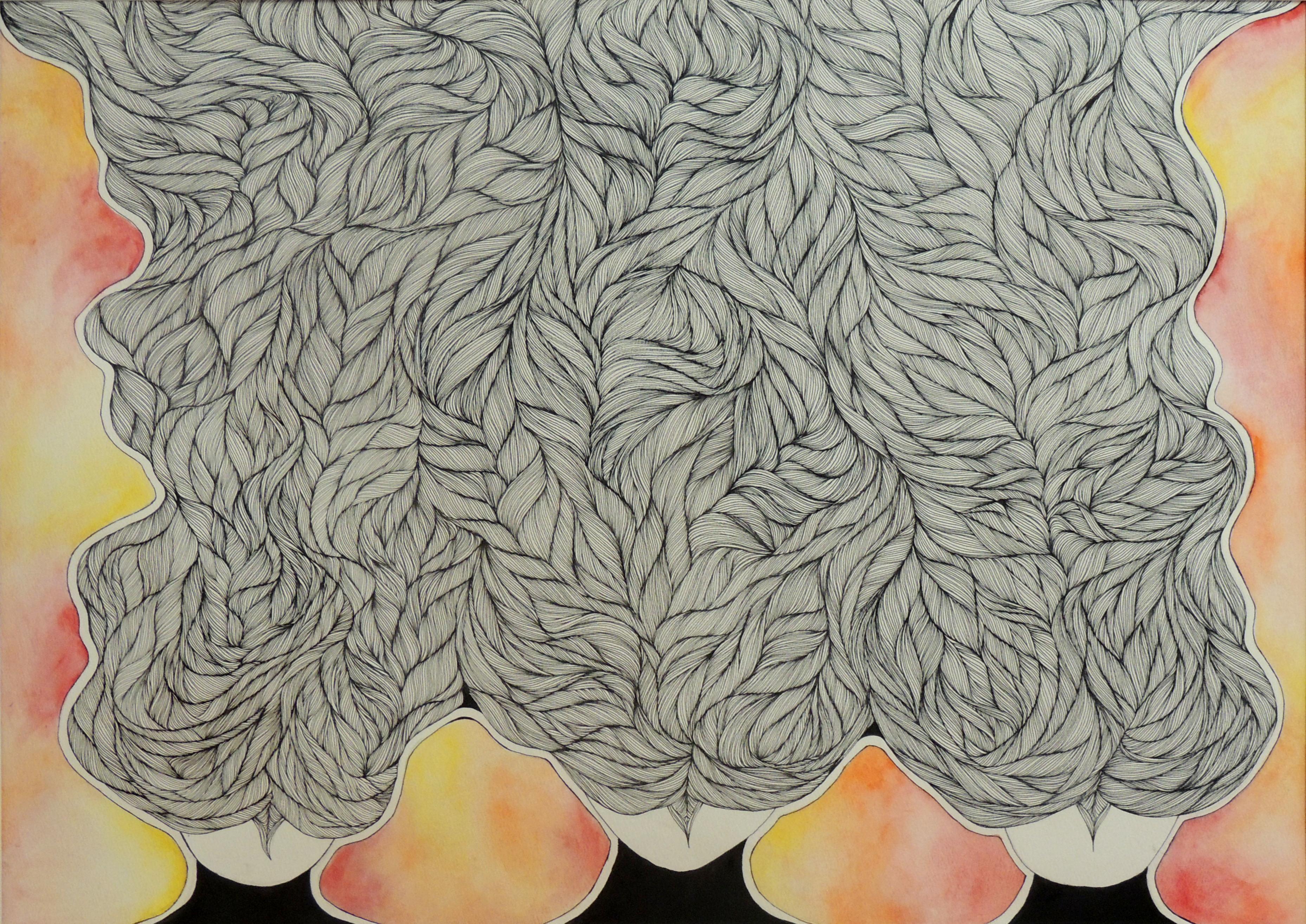 Jasmine Owens   HAIR SERIES   watercolor and ink