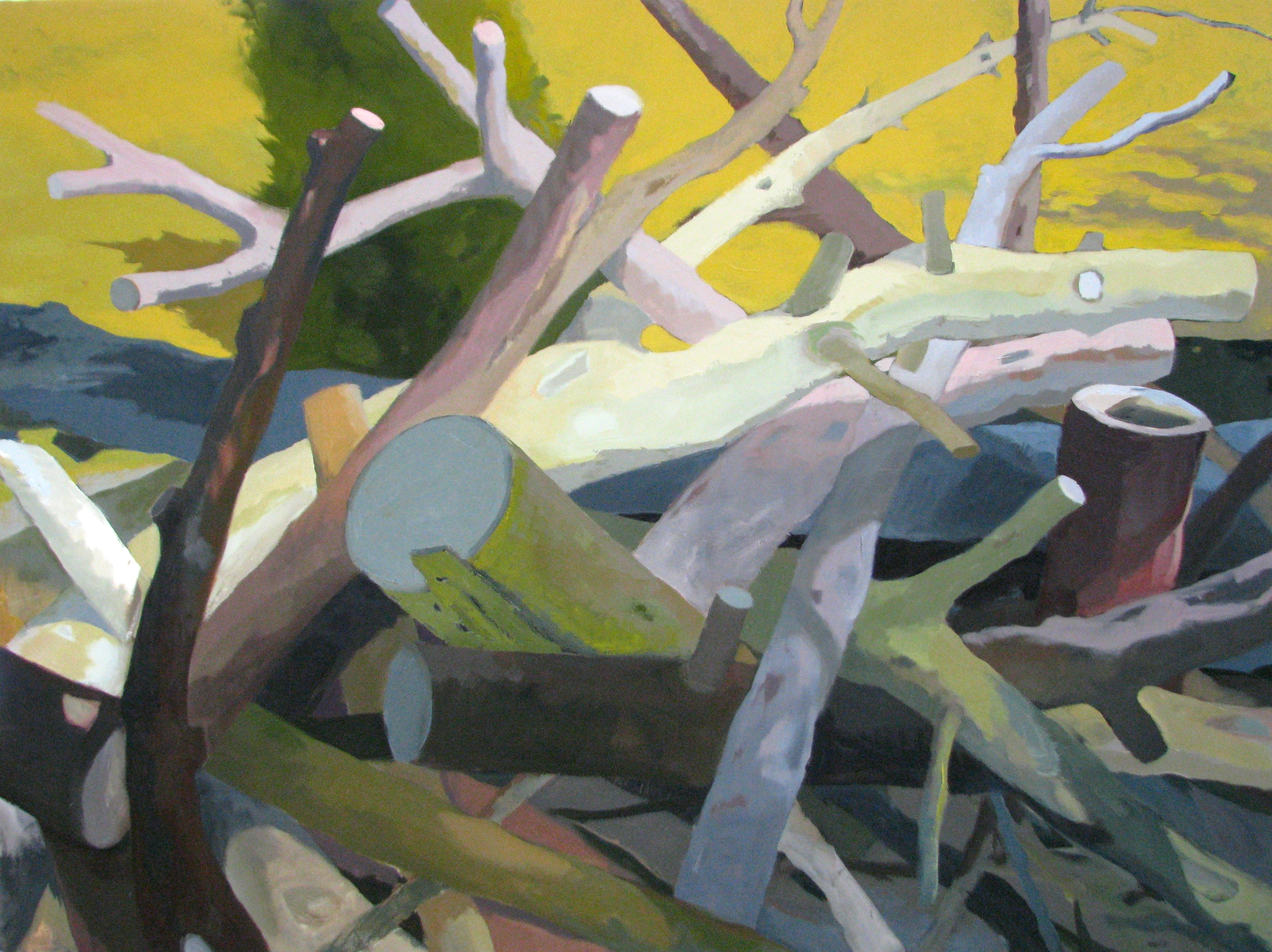 Jean Koeller | WOODPILE REACHING | oil on canvas | 36 x 48"