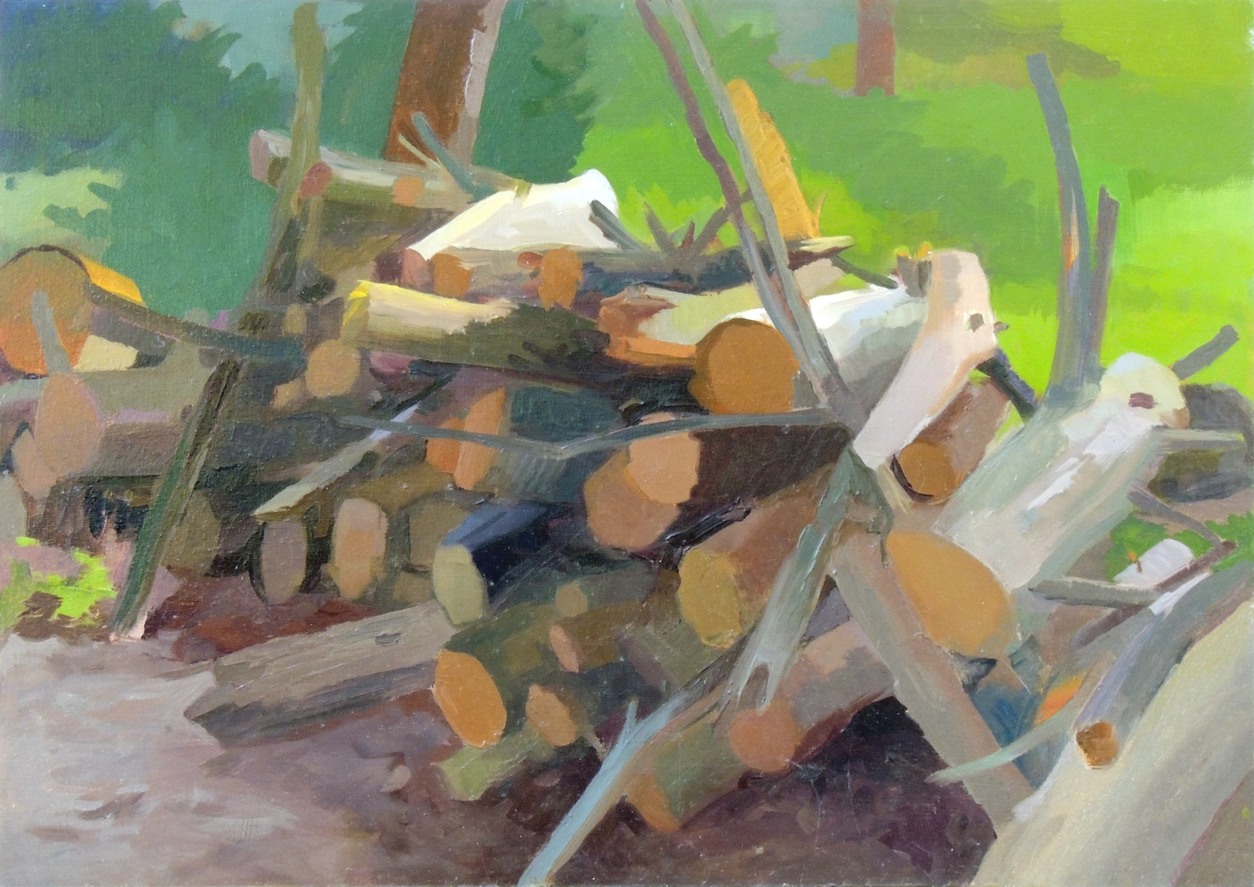 Jean Koeller | WOODPILE, WET | oil on panel | 20 x 28"