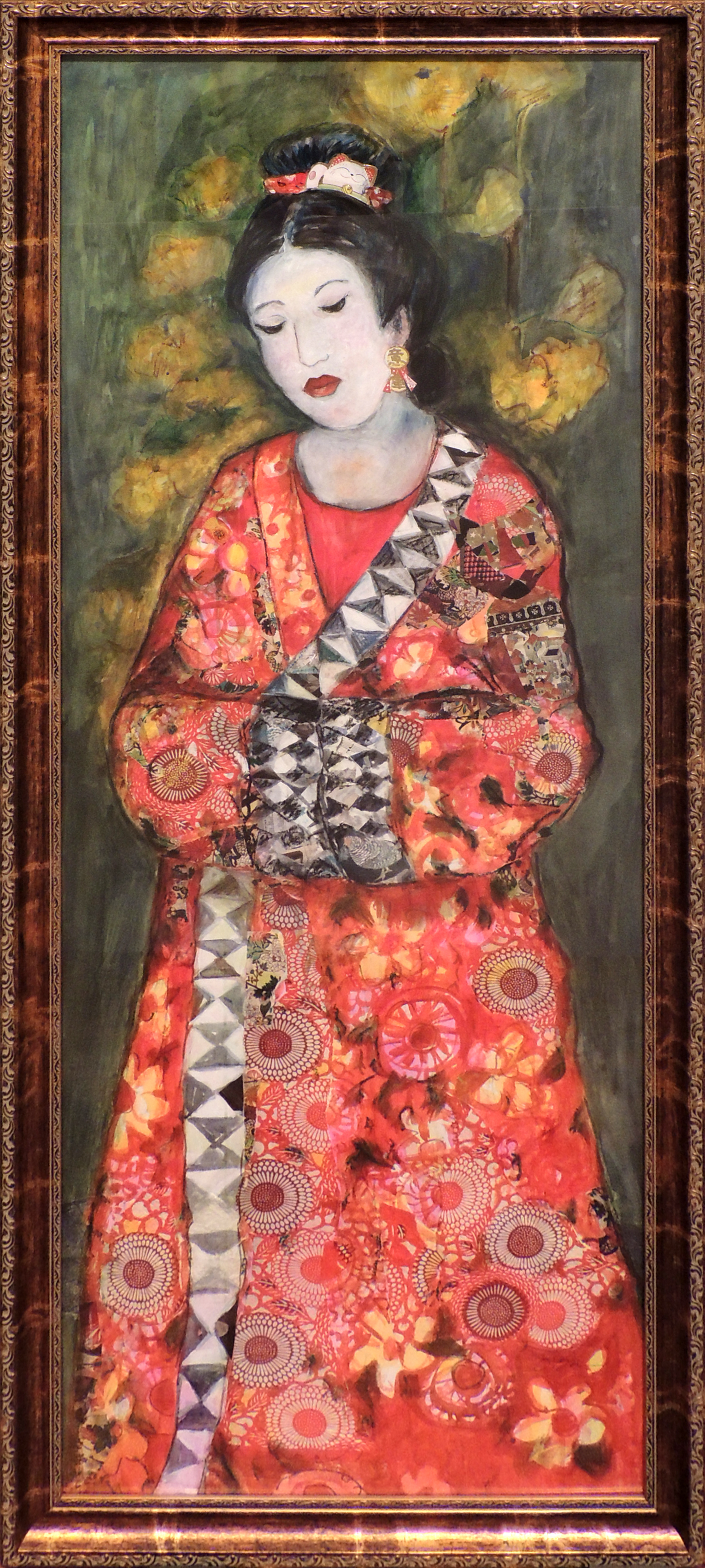 Jennifer O'Brien | LADY IN GARDEN | mixed media | 50 x 18""