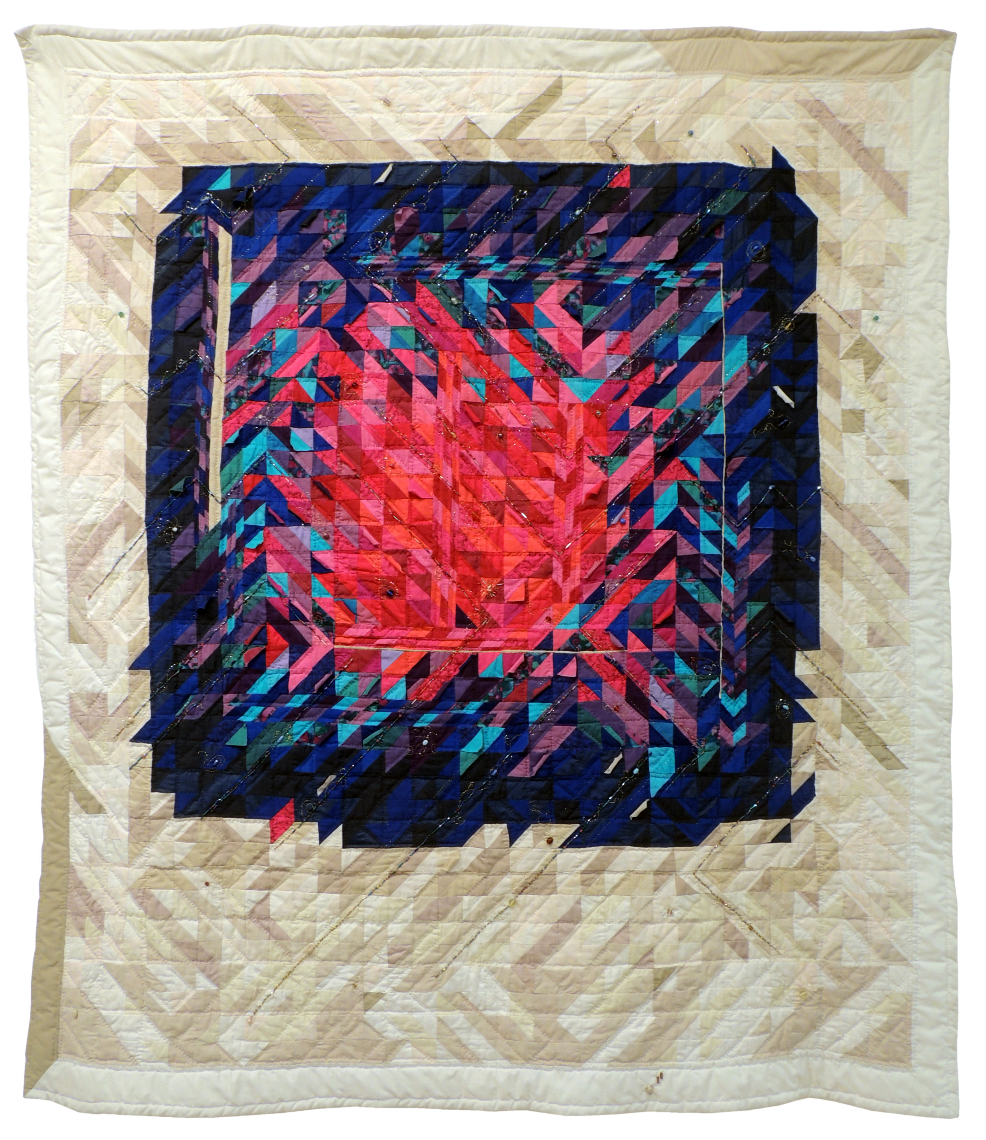 Jessie Z. Barker | WINDOW TO A WILDFIRE | Fabric, Metallic, Thread, Beads