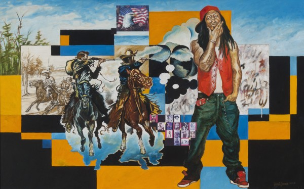 Jimi Jones | FROM JOHN WAYNE TO LIL WAYNE – WHO IS THE REAL COWBOY? | oil | 48 x 30"